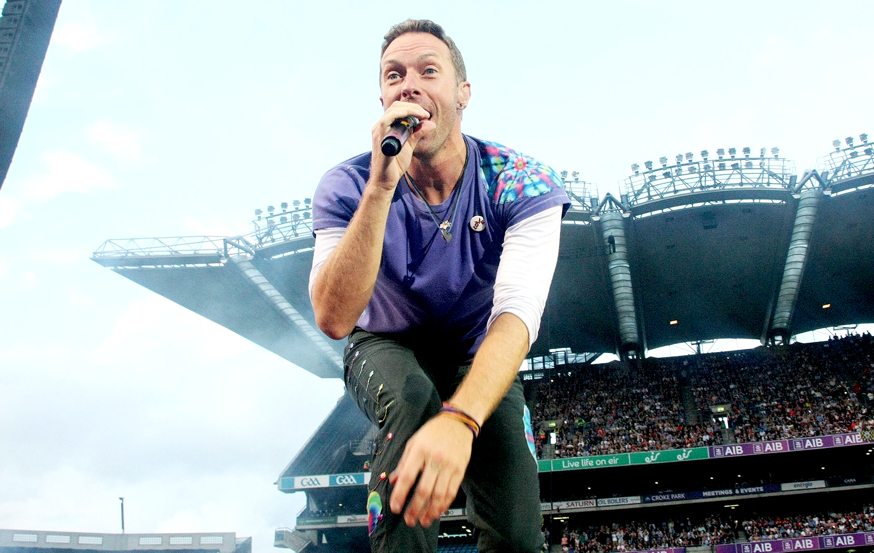 Coldplay frontman Chris Martin is seen on stage in front of 80,000 fans at Croke Park, Dublin, Ireland.