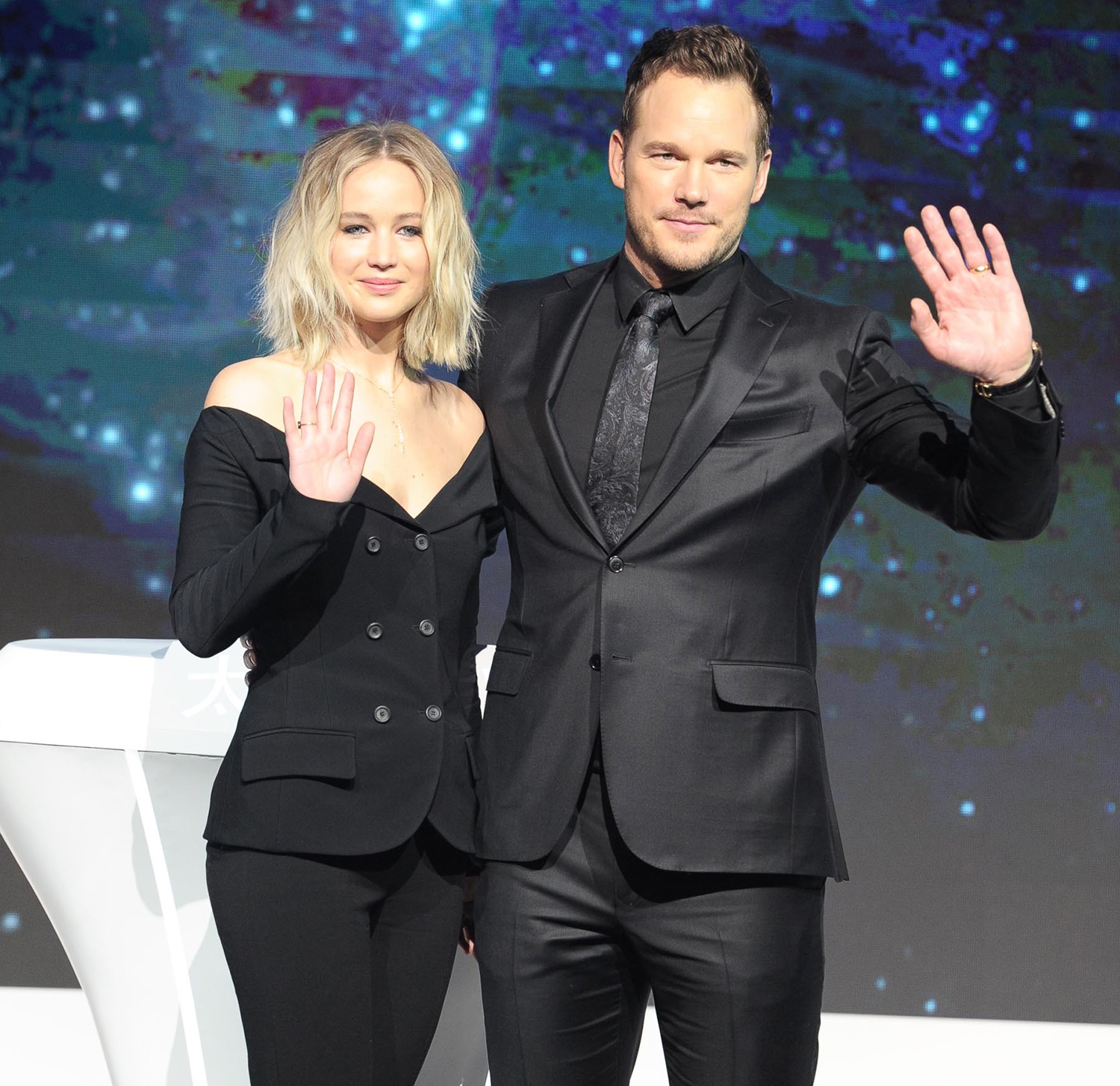 Jennifer Lawrence and Chris Pratt attend the press conference of director Morten Tyldum's film