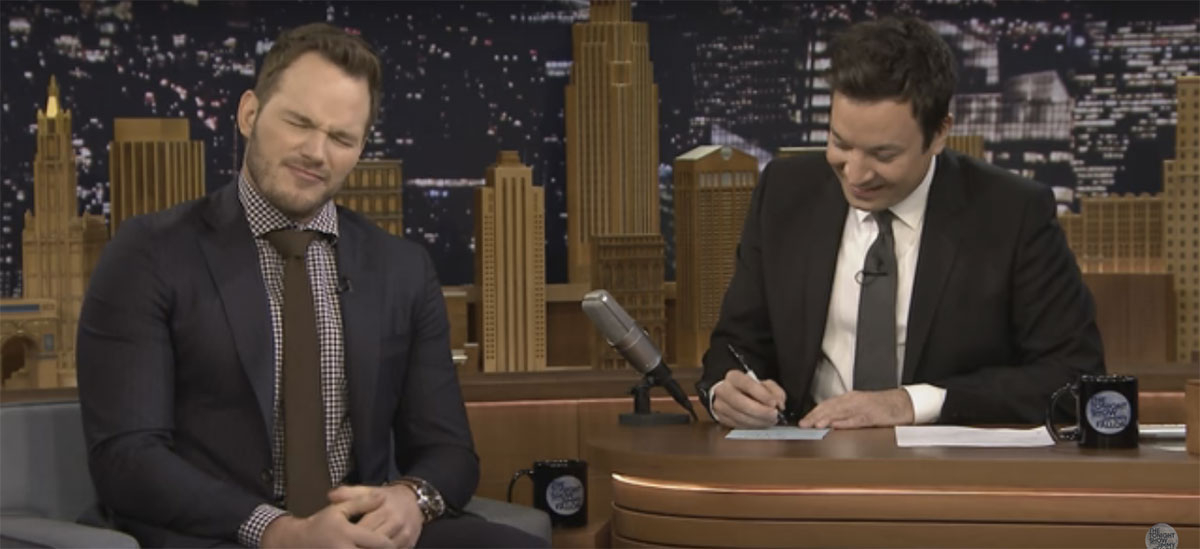 Chris Pratt tries to come up with some fun words for 'Mad Libs'