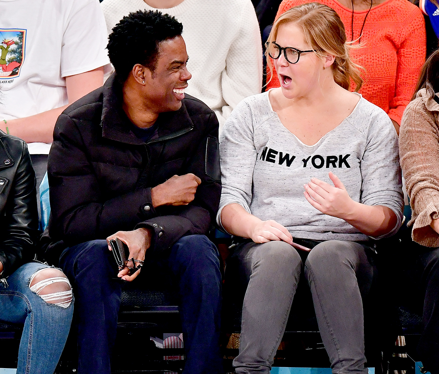 Chris Rock and Amy Schumer attend Indiana Pacers Vs. New York Knicks game at Madison Square Garden on December 20, 2016 in New York City.