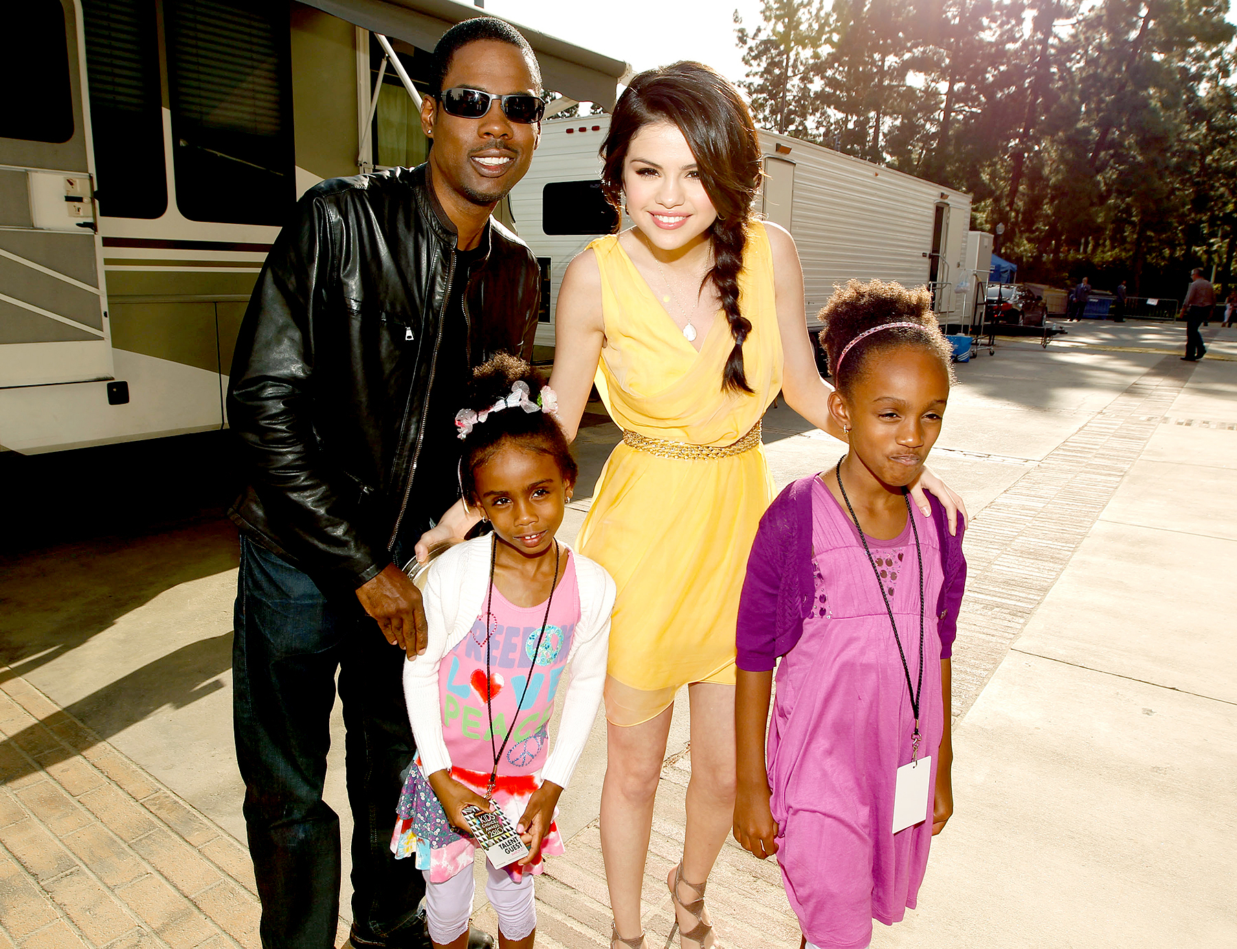 Chris Rock, Selena Gomez, Zahra Savannah Rock and Lola Simone Rock attend Nickelodeon's 23rd Annual Kids' Choice Awards on March 27, 2010 in Los Angeles, California.