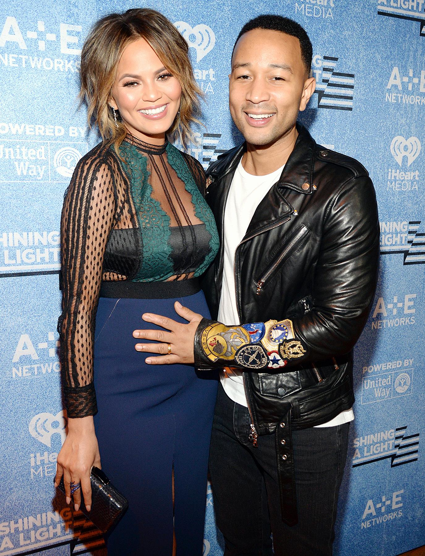 Chrissy Teigen and John Legend attend A+E Networks