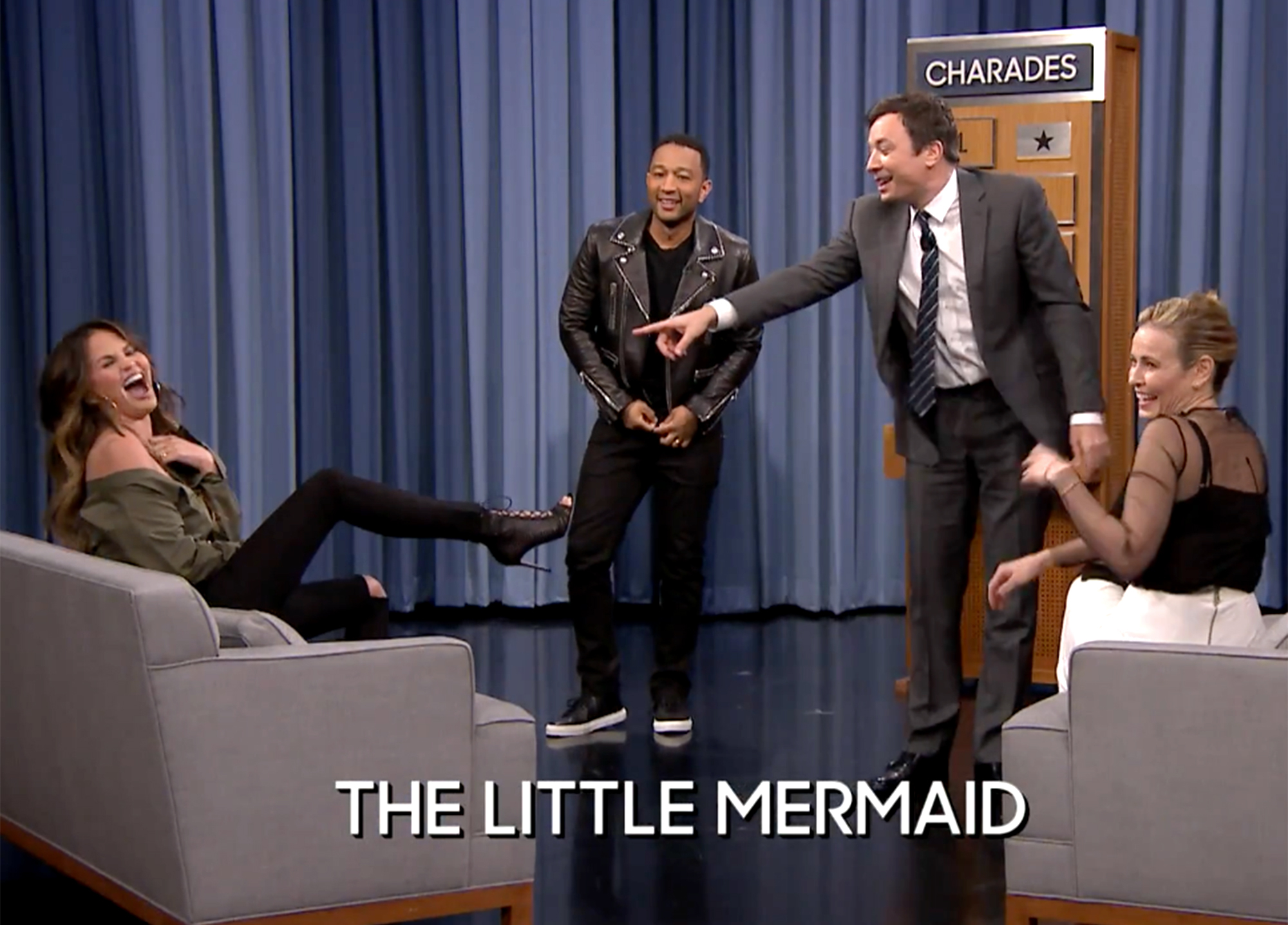 Jimmy Fallon and John Legend and Chrissy Teigen and Chelsea Handler