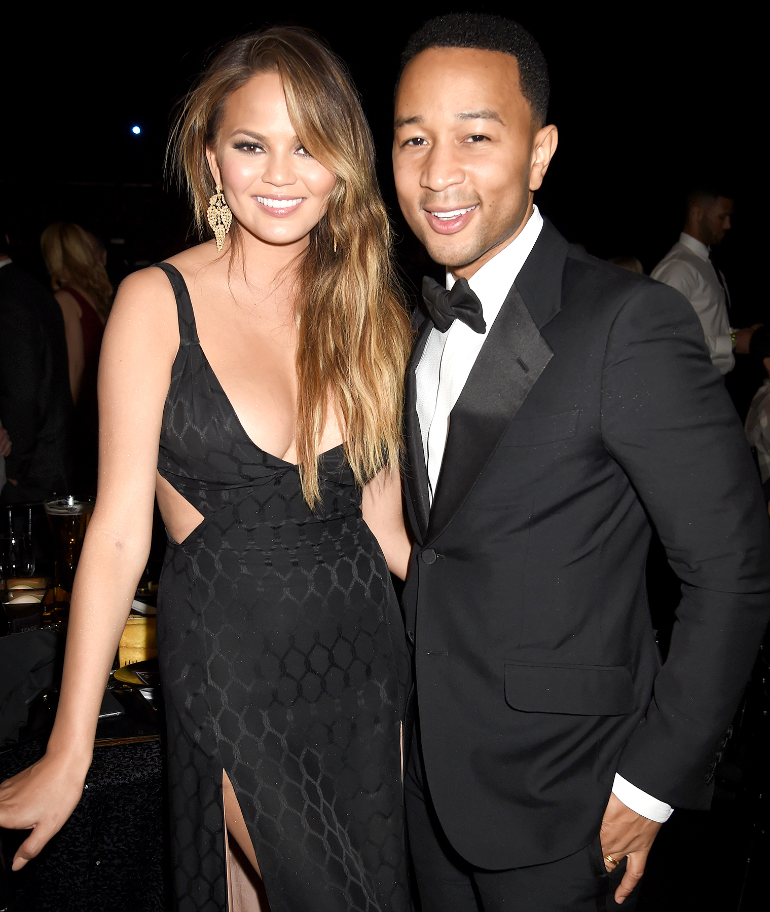 Chrissy Teigen (L) and recording artist John Legend attend The Comedy Central Roast of Justin Bieber at Sony Pictures Studios on March 14, 2015 in Los Angeles, California.