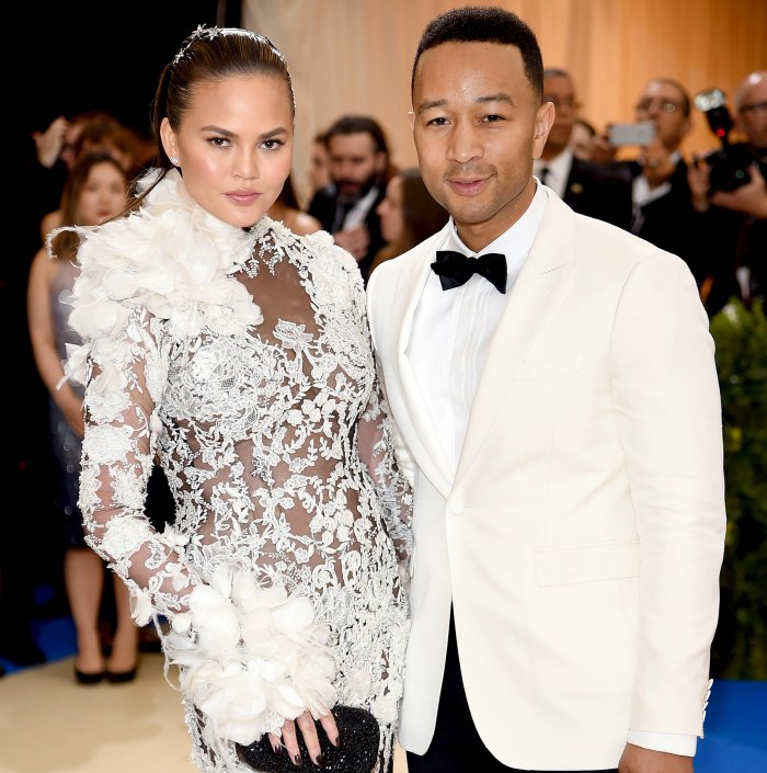 """Chrissy Teigen and John Legend attend the """"Rei Kawakubo/Comme des Garcons: Art Of The In-Between"""" Costume Institute Gala at Metropolitan Museum of Art on May 1, 2017 in New York City."""