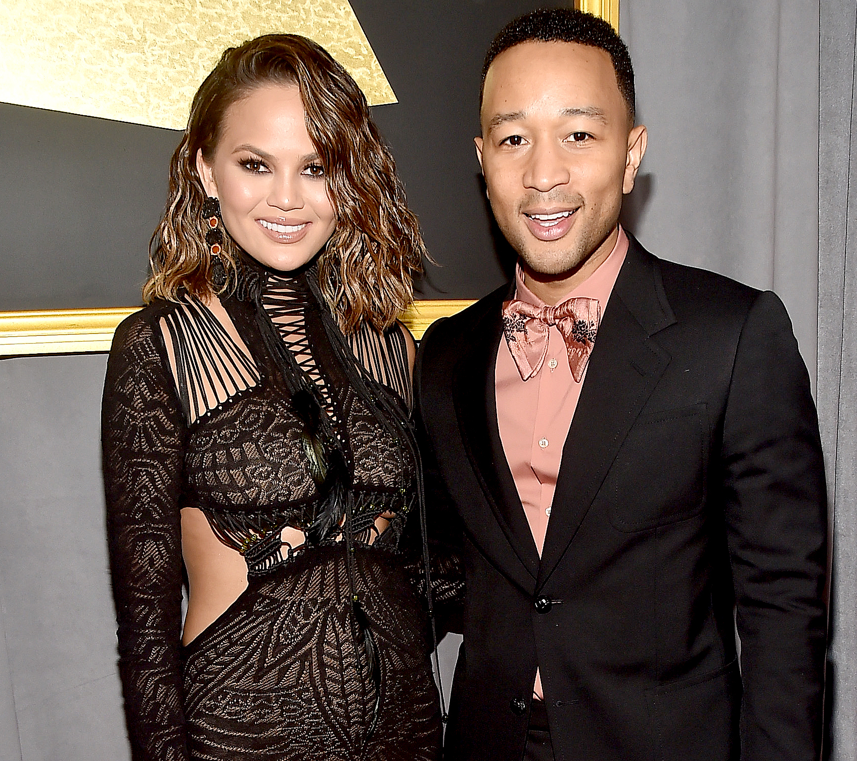 Chrissy Teigen and John Legend attends The 59th GRAMMY Awards at STAPLES Center on February 12, 2017 in Los Angeles, California.