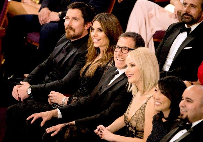 Christian Bale, Sibi Blazic, David O. Russell, and Jennifer Lawrence.