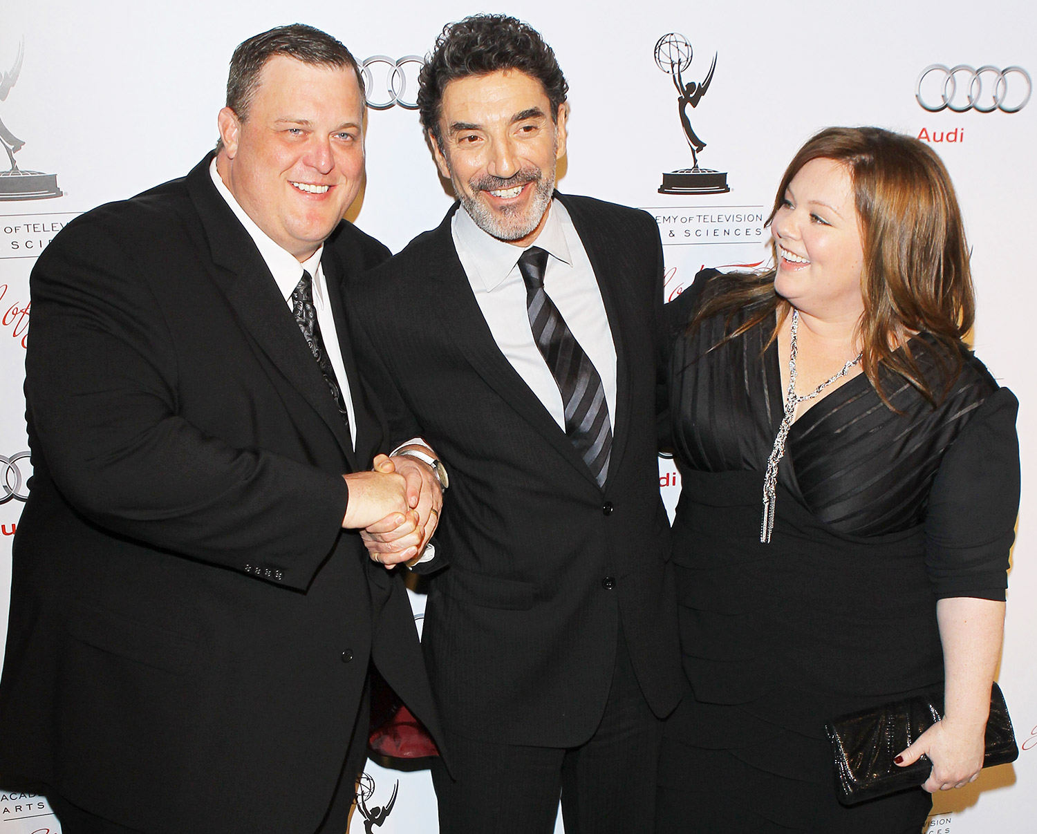 Billy Gardell, Chuck Lorre and Melissa McCarthy