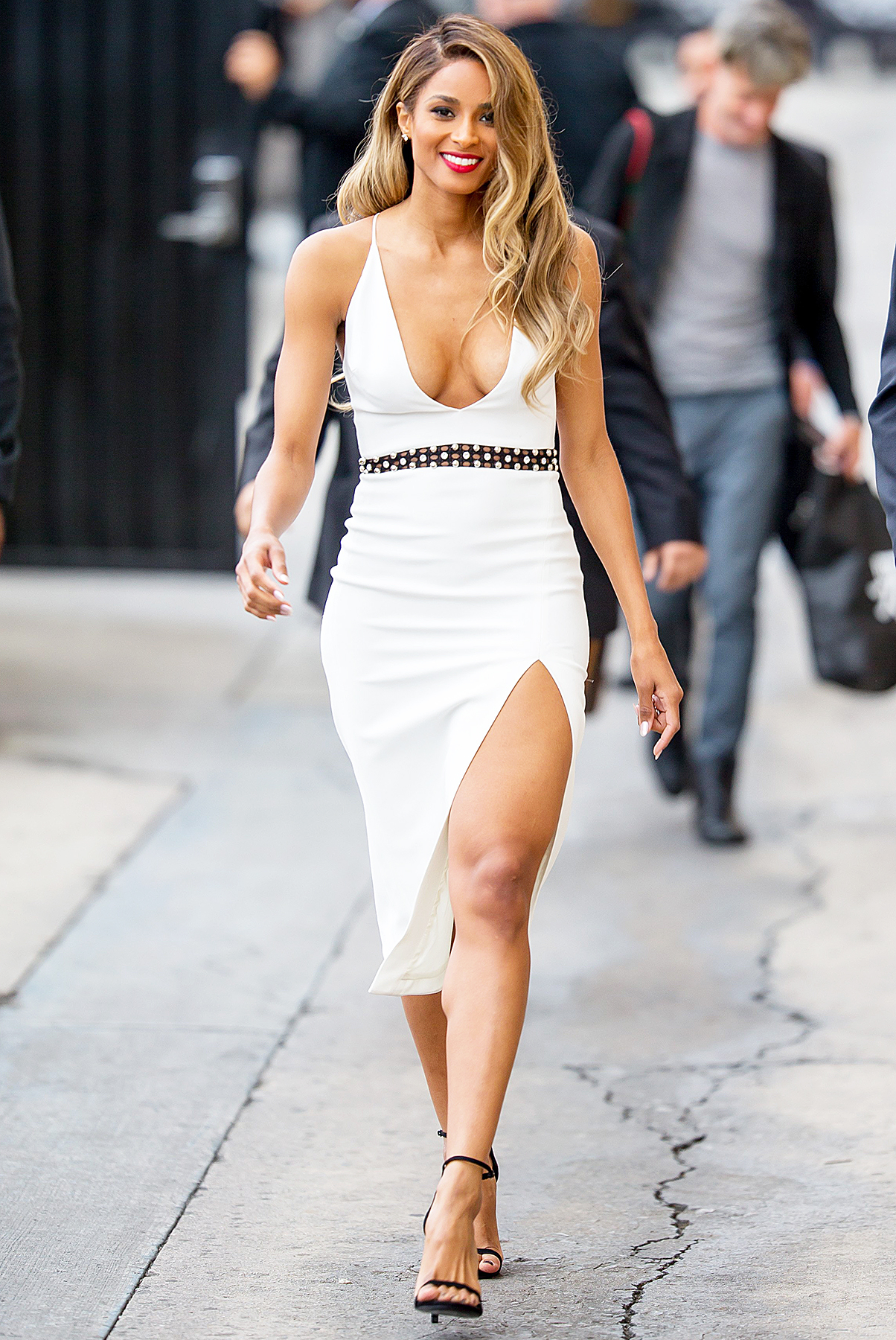 Ciara Stuns In Plunging White Dress With High Slit Photos