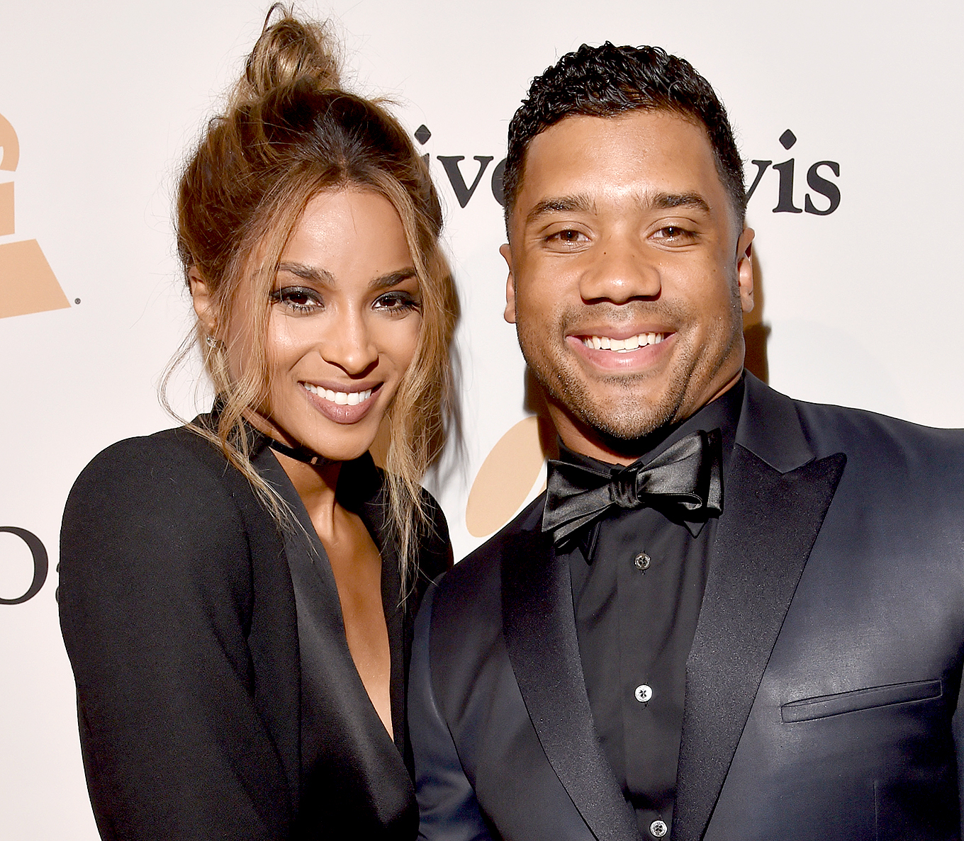 Ciara and NFL player Russell Wilson attend the 2016 Pre-GRAMMY Gala and Salute to Industry Icons honoring Irving Azoff at The Beverly Hilton Hotel on February 14, 2016 in Beverly Hills, California.