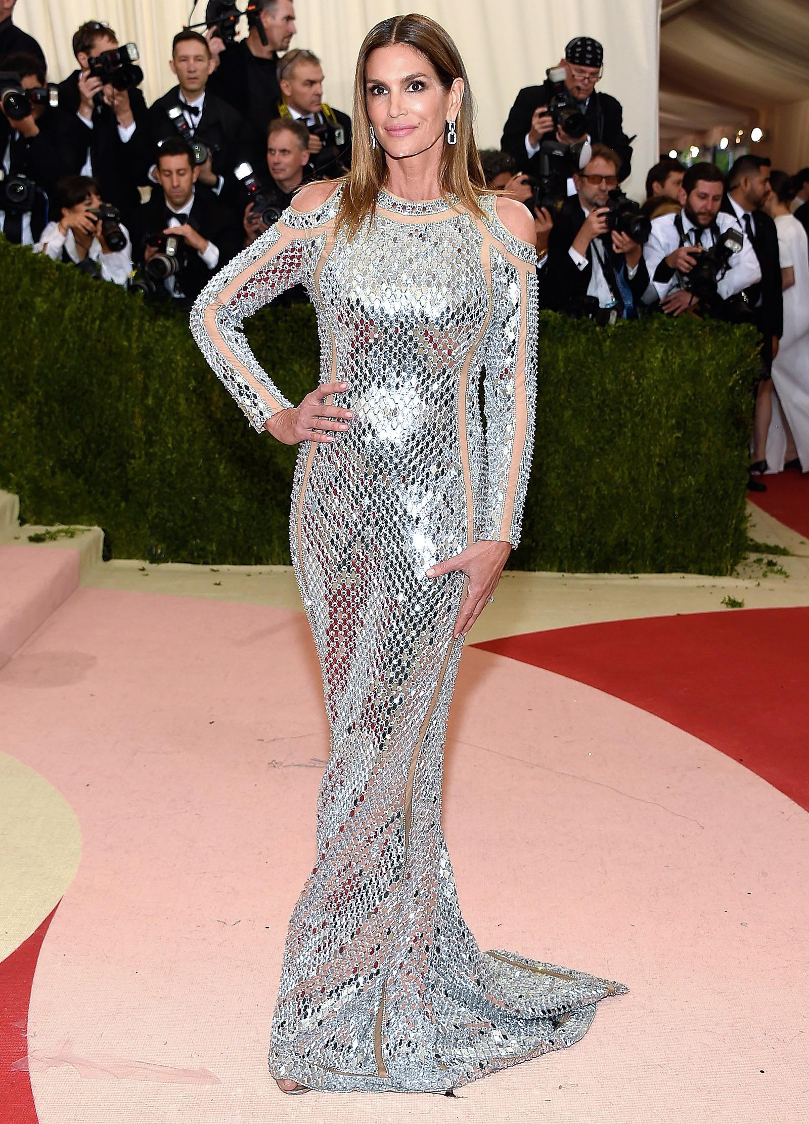 Met Gala 2016 Red Carpet: Cindy Crawford Stuns in Sheer-Paneled Gown