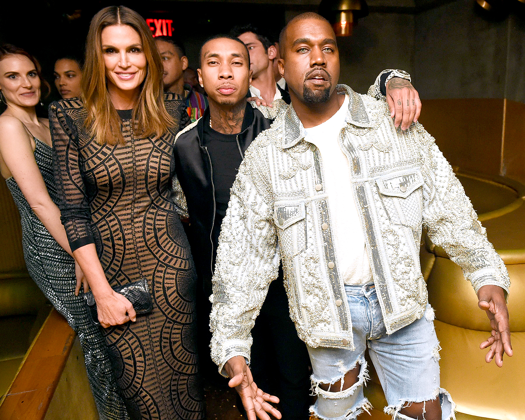Cindy Crawford, Tyga, and Kanye West