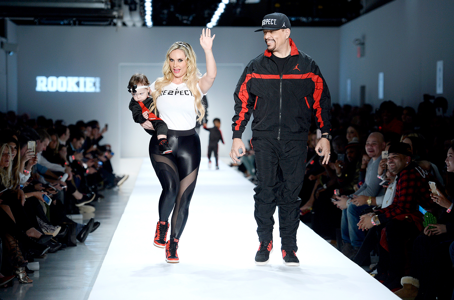 Coco Austin and Ice T walk the runway for Air Jordan for the Rookie USA collection during New York Fashion Week: The Shows at Gallery 3, Skylight Clarkson Sq on February 15, 2017 in New York City.