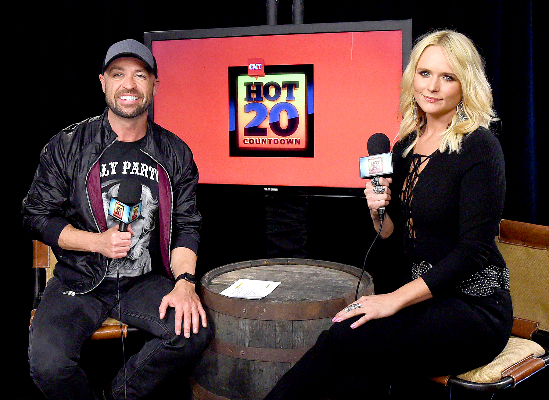 CMT radio host Cody Alan and singer Miranda Lambert attend the 2016 iHeartCountry Festival at The Frank Erwin Center on April 30, 2016 in Austin, Texas.