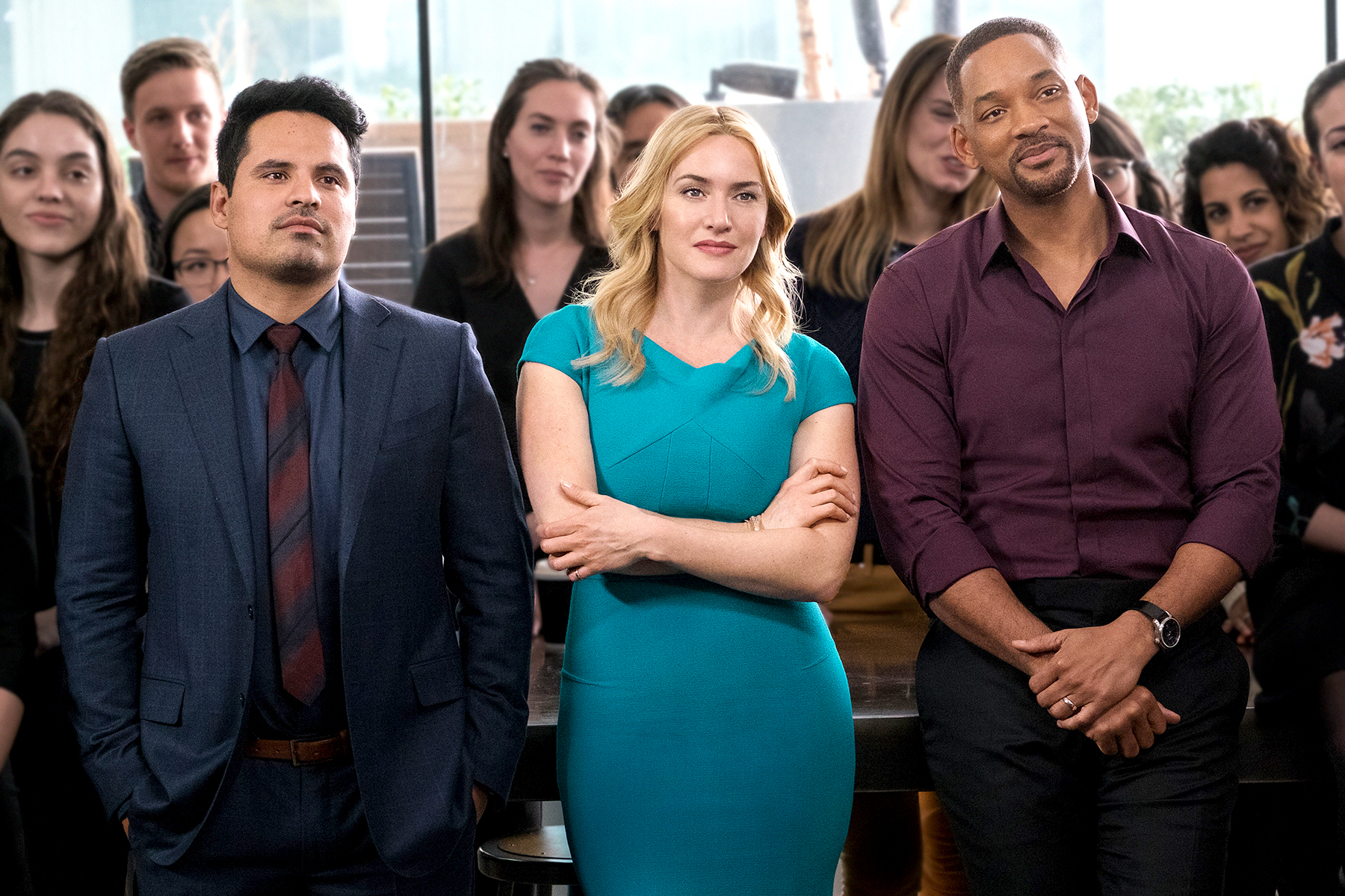 Michael Pena, Kate Winslet, and Will Smith in Collateral Beauty.