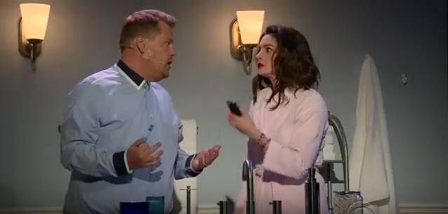 Anne Hathaway, James Corden Sing Romantic Comedy Soundtrack