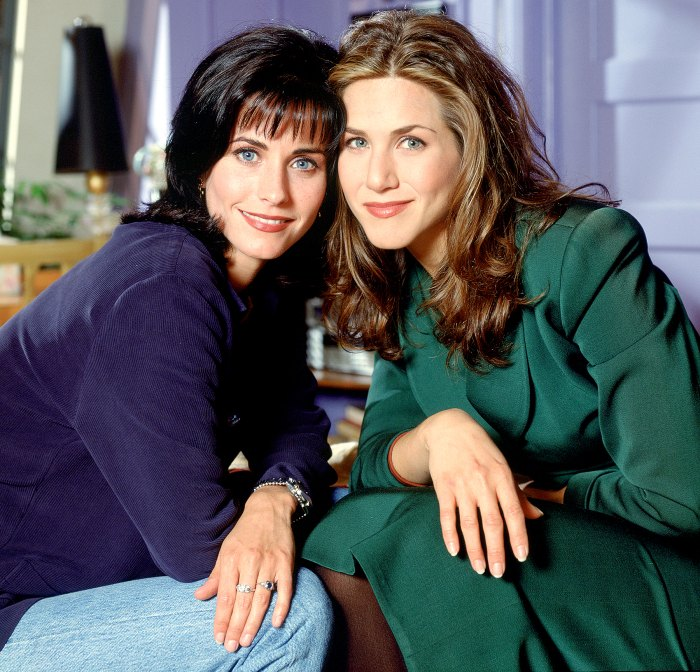 Courteney Cox Arquette as Monica Geller and Jennifer Aniston as Rachel Green on Friends.