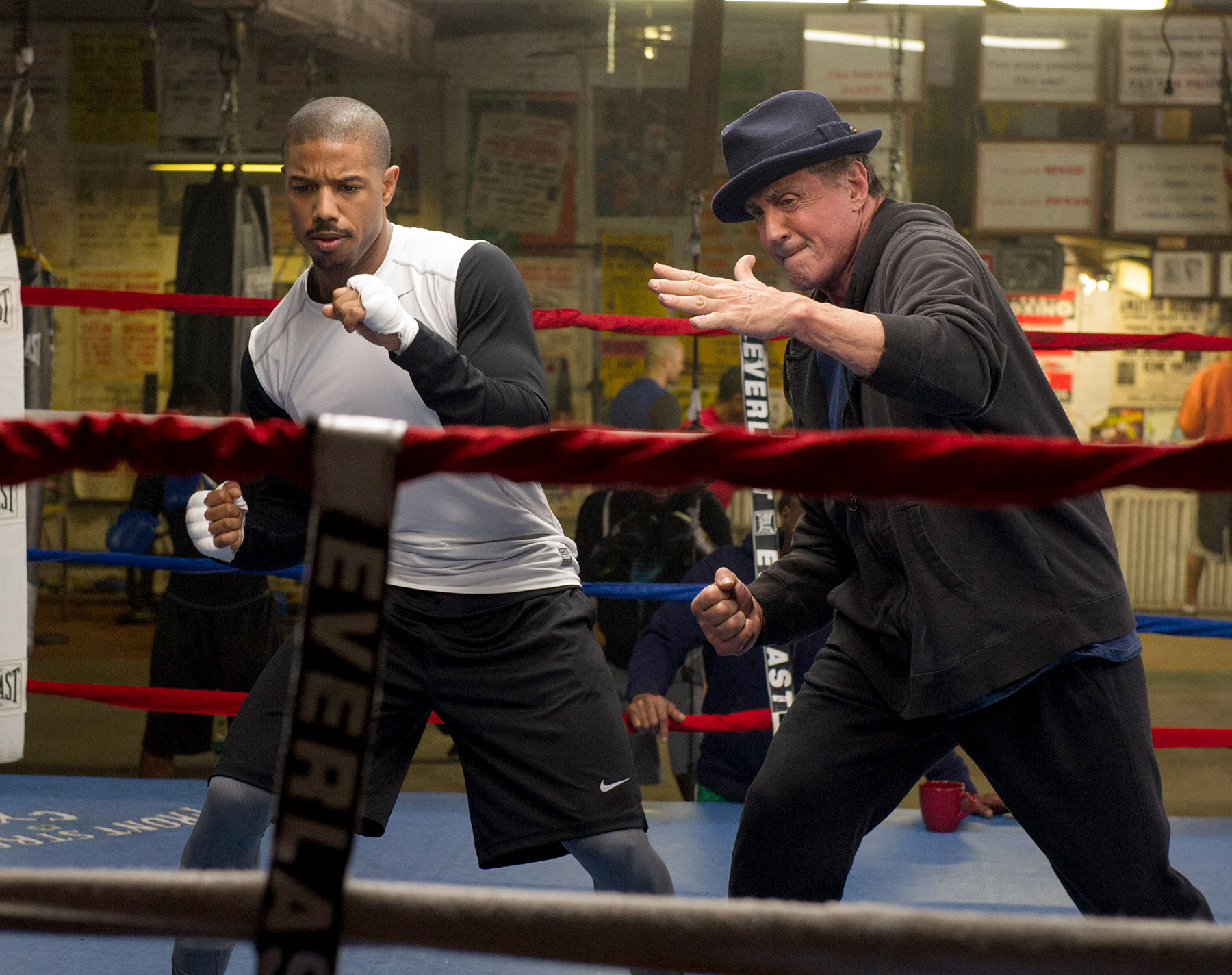 Michael B. Jordan and Sylvestor Stallone in Creed.
