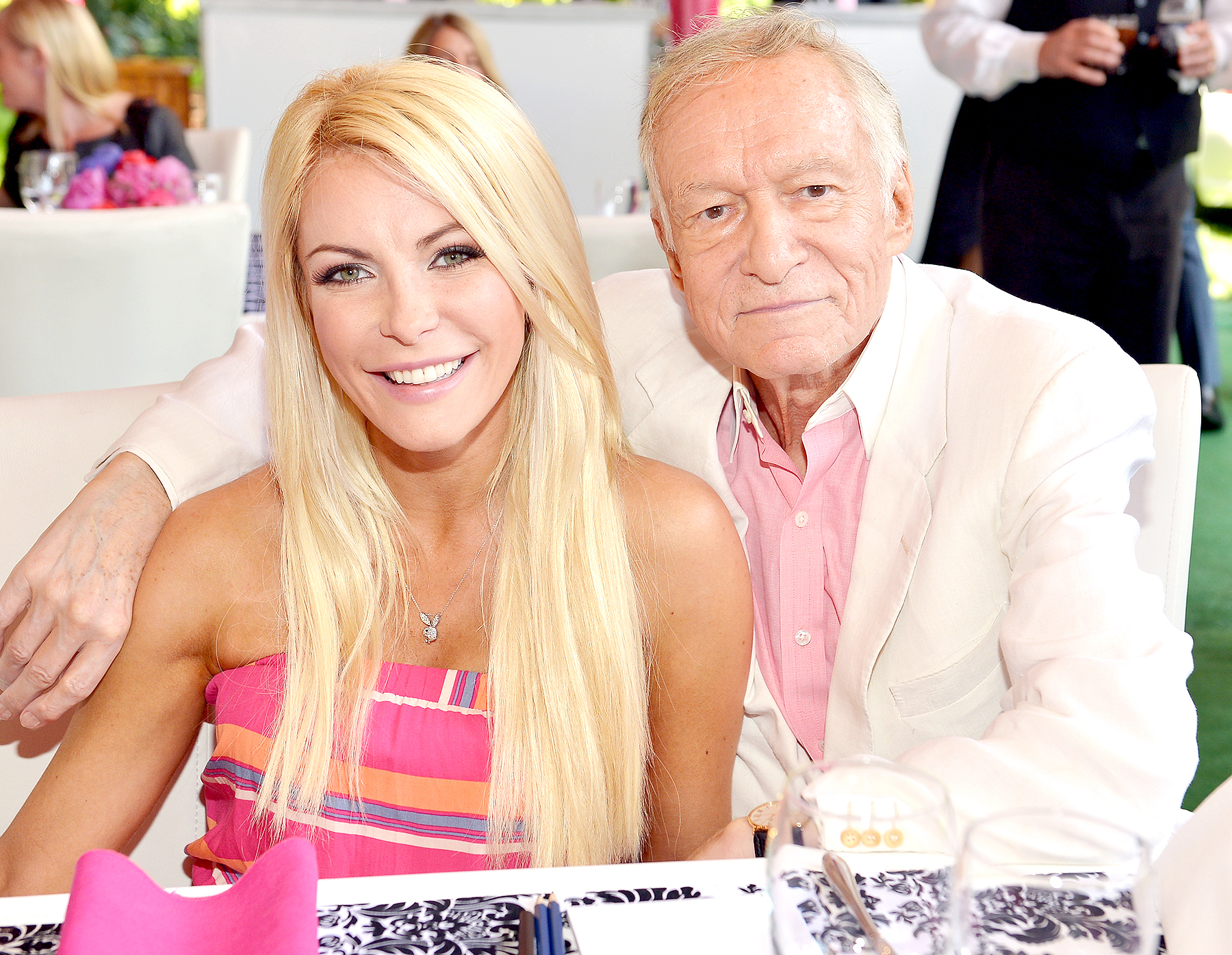 Crystal Harris and Hugh Hefner attend Playboy's 2013 Playmate of the Year luncheon honoring Raquel Pomplun at the Playboy Mansion in Holmby Hills, California, on May 9, 2013.