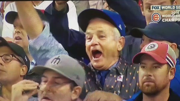 Bill Murray reacts as the Chicago Cubs win the World Series on Wednesday, Nov. 2.