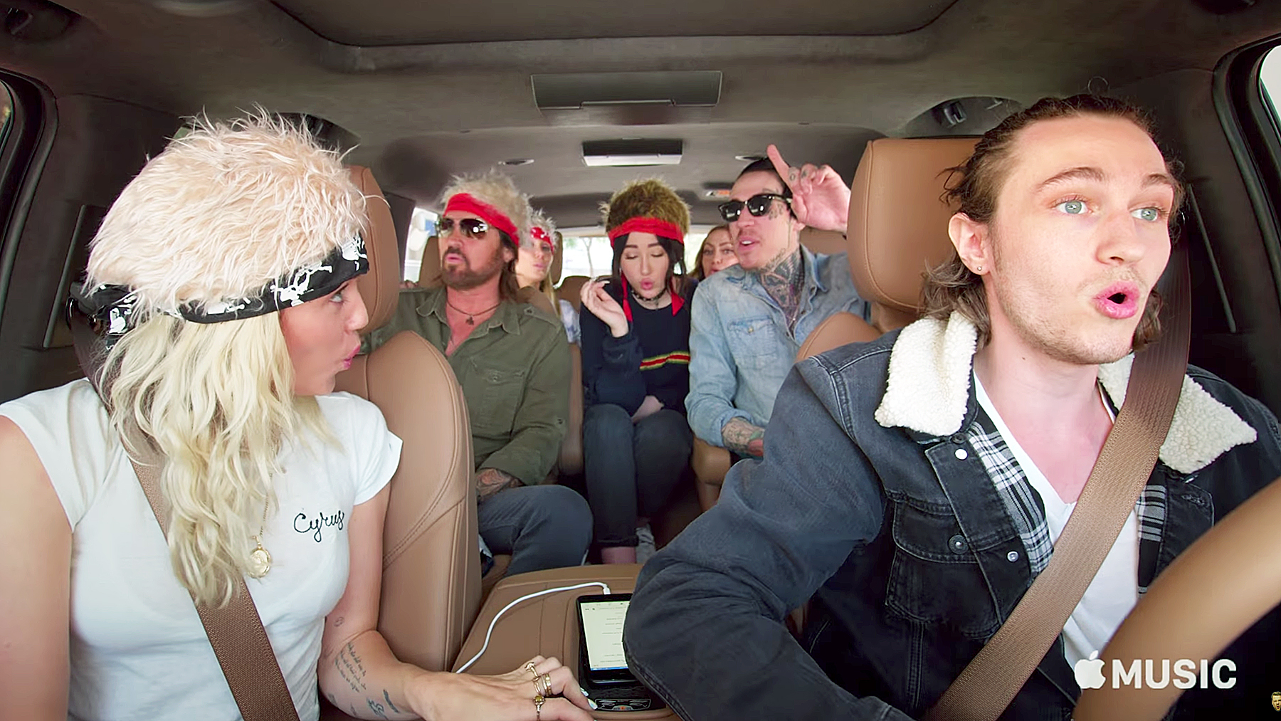 Cyrus Family carpool karaoke Achy Breaky Heart Miley Cyrus Billy ray Cyrus Noah Cyrus