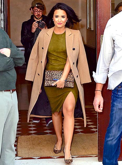 Demi Lovato - Camel Coat