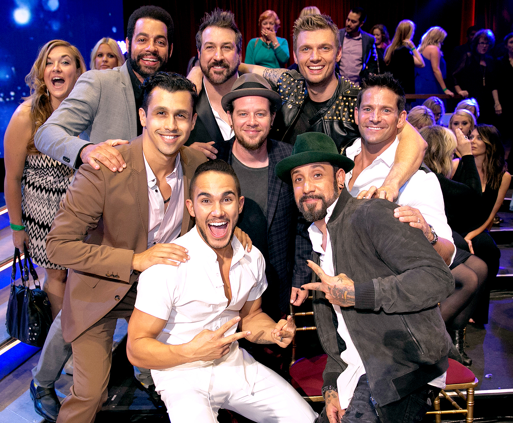 (Clockwise from top left to center) Trevor Penick (O-Town), Joey Fatone ('NSync), Nick Carter (Backstreet Boys), Jeff Timmons (98 Degrees), A.J. McLean (Backstreet Boys), Carlos Penavega (Big Time Rush), Erik-Michael Estrada (O-Town), Jacob Underwood (O-Town)