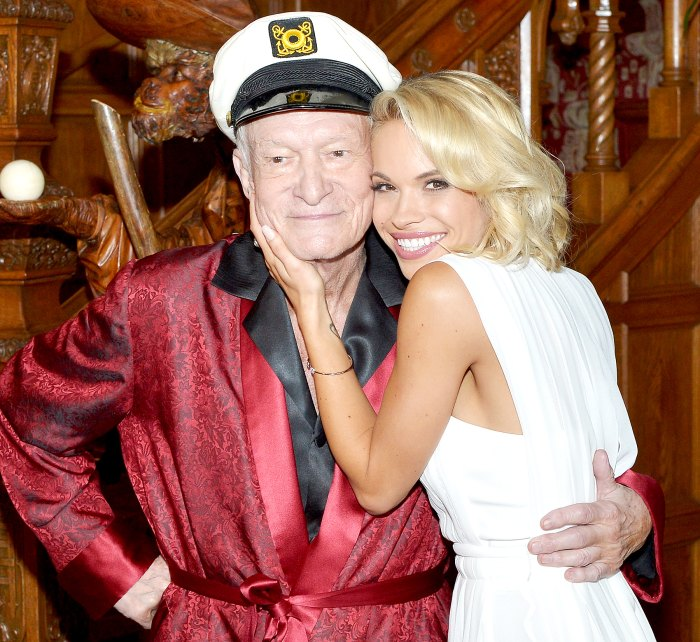 Hugh M. Hefner poses with 2015 Playmate of the Year Dani Mathers during Playboy's 2015 Playmate of the Year Ceremony at the Playboy Mansion on May 14, 2015 in Los Angeles, California.