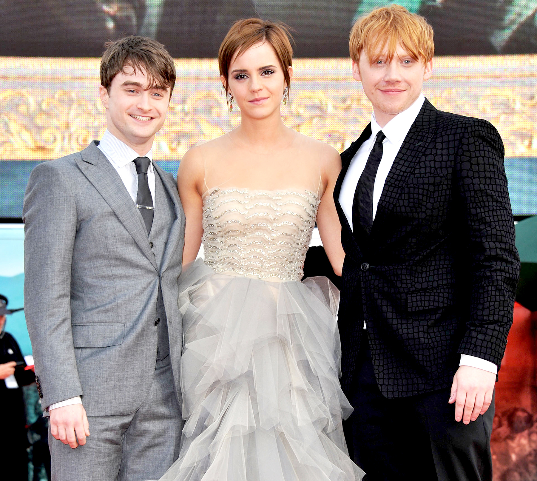 "Daniel Radcliffe, Emma Watson and Rupert Grint attend the ""Harry Potter And The Deathly Hallows Part 2"" world premiere at Trafalgar Square on July 7, 2011 in London, England."