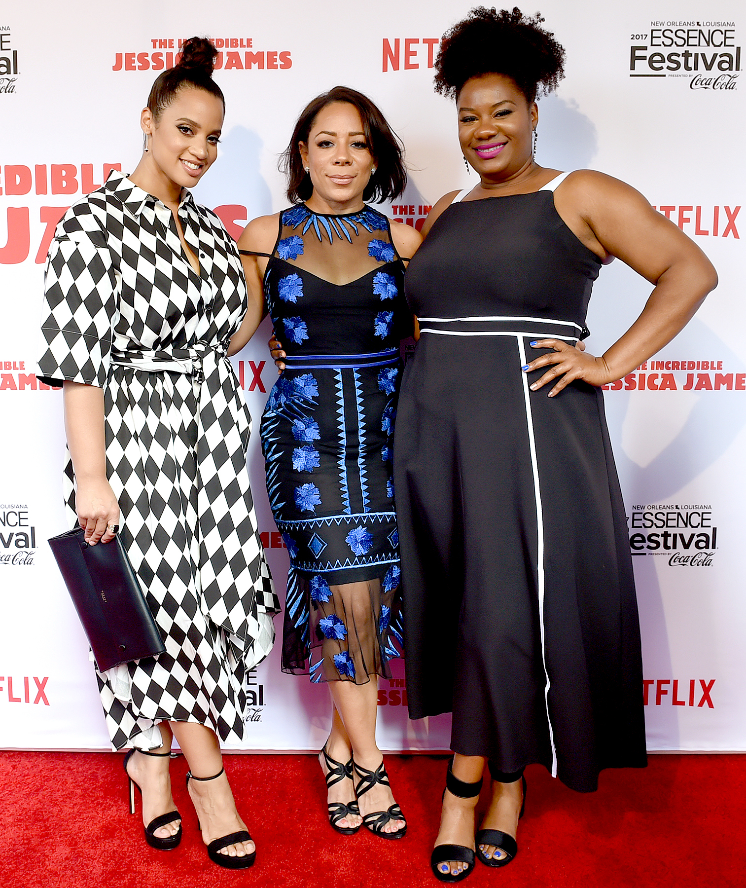 "Dascha Polanco, Selenis Leyva and Adrienne C. Moore attend the Premiere Of Netflix Original Film ""The Incredible Jessica James"" At The 2017 Essence Festival on July 1, 2017 in New Orleans, Louisiana."