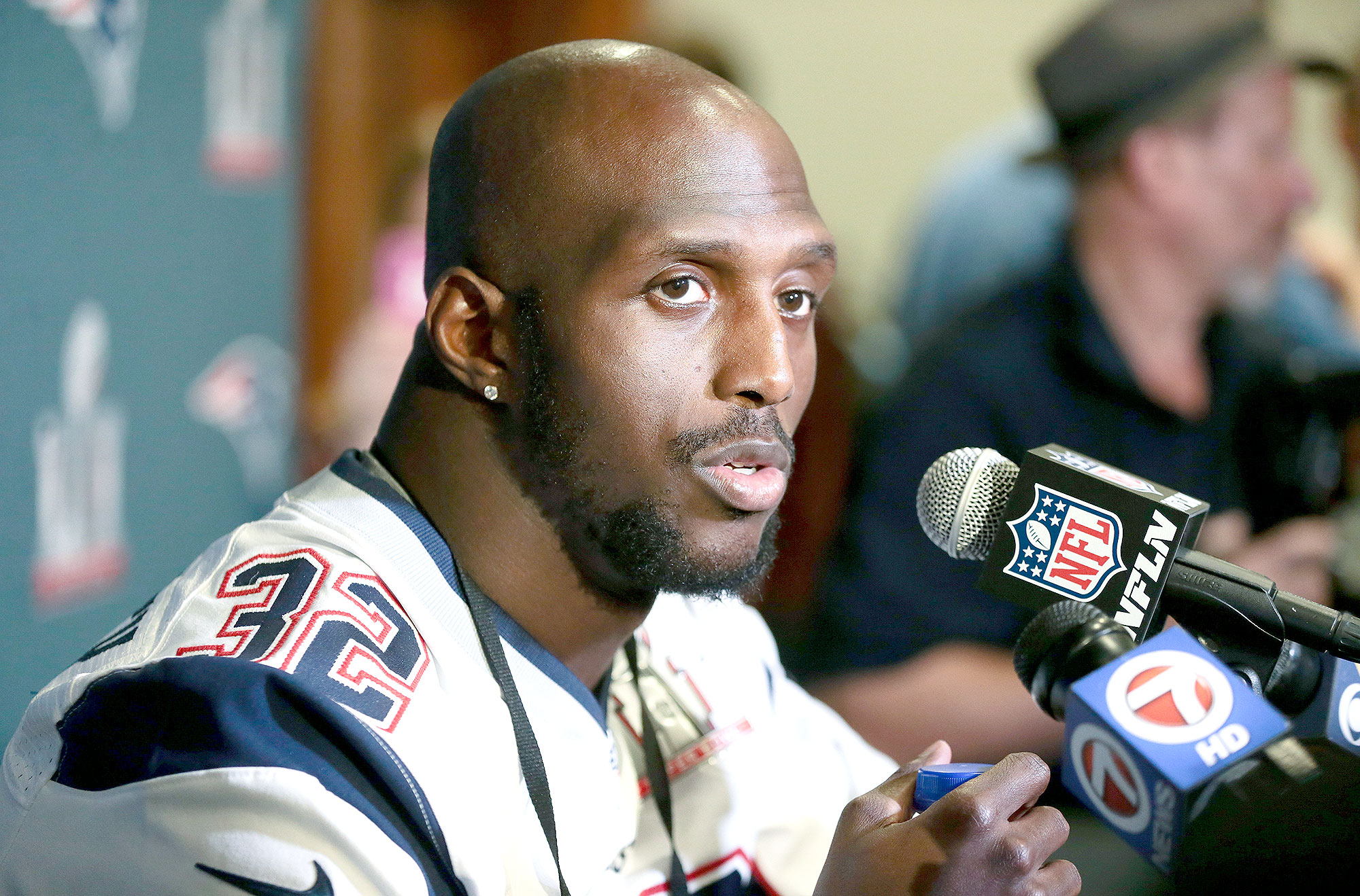 Devin McCourty #32 of the New England Patriots answers questions during Super Bowl LI media availability at the J.W. Marriott on February 2, 2017 in Houston, Texas.