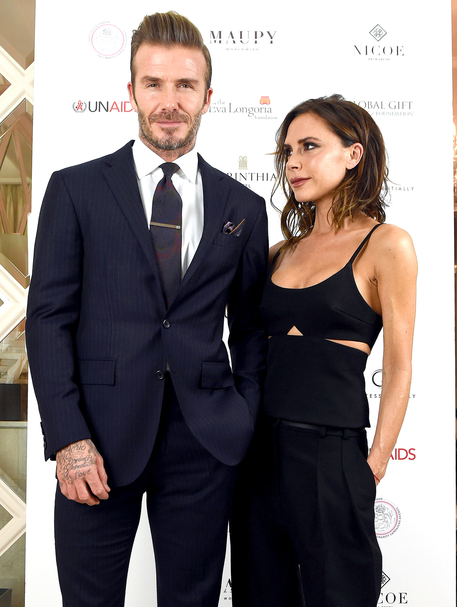 David Beckham and Victoria Beckham attend the Global Gift Gala in partnership with Quintessentially on November 19, 2016 at the Corithinia Hotel in London, United Kingdom.
