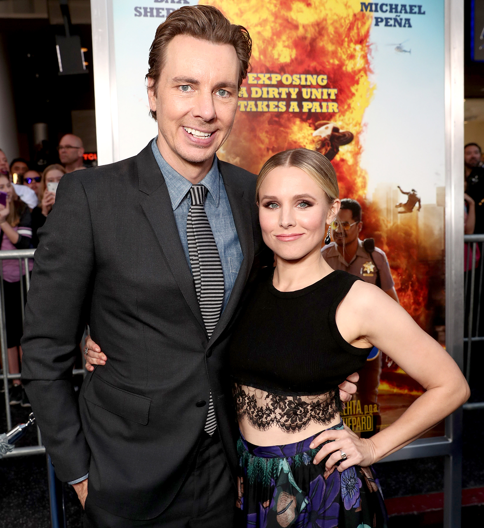 "Dax Shepard and Kristen Bell attend the premiere of Warner Bros. Pictures' ""CHiPS"" at TCL Chinese Theatre on March 20, 2017 in Hollywood, California."