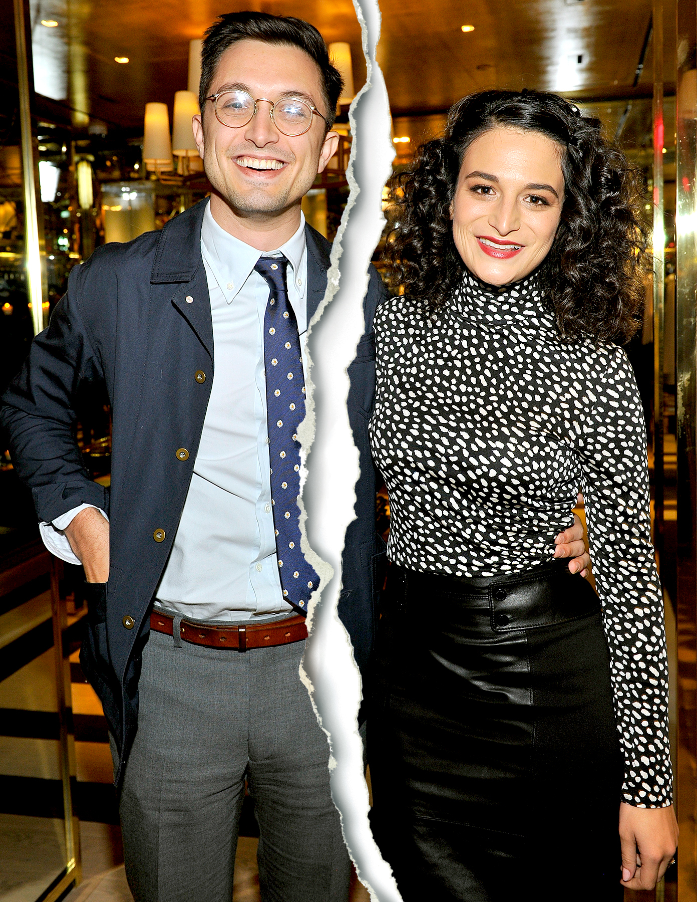 Dean Fleischer-Camp poses with Jenny Slate at the dinner hosted by Krista Smith for Jenny Slate at the Tory Burch Rodeo Flagship on November 17, 2014 in Beverly Hills, California.