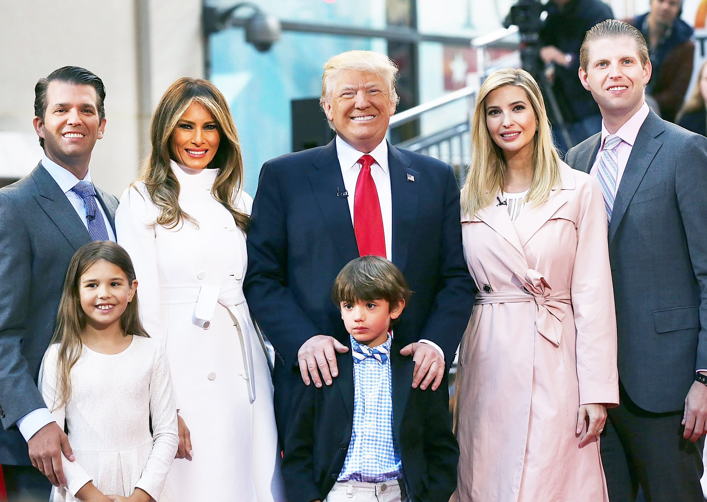 Donald Trump stands with his wife Melania Trump (center left) and from right: Eric Trump, Ivanka Trump, Donald Trump Jr. and Tiffany Trump. In the front row are Kai Trump and Donald Trump III, children of Donald Trump Jr. on April 21, 2016 in New York City.