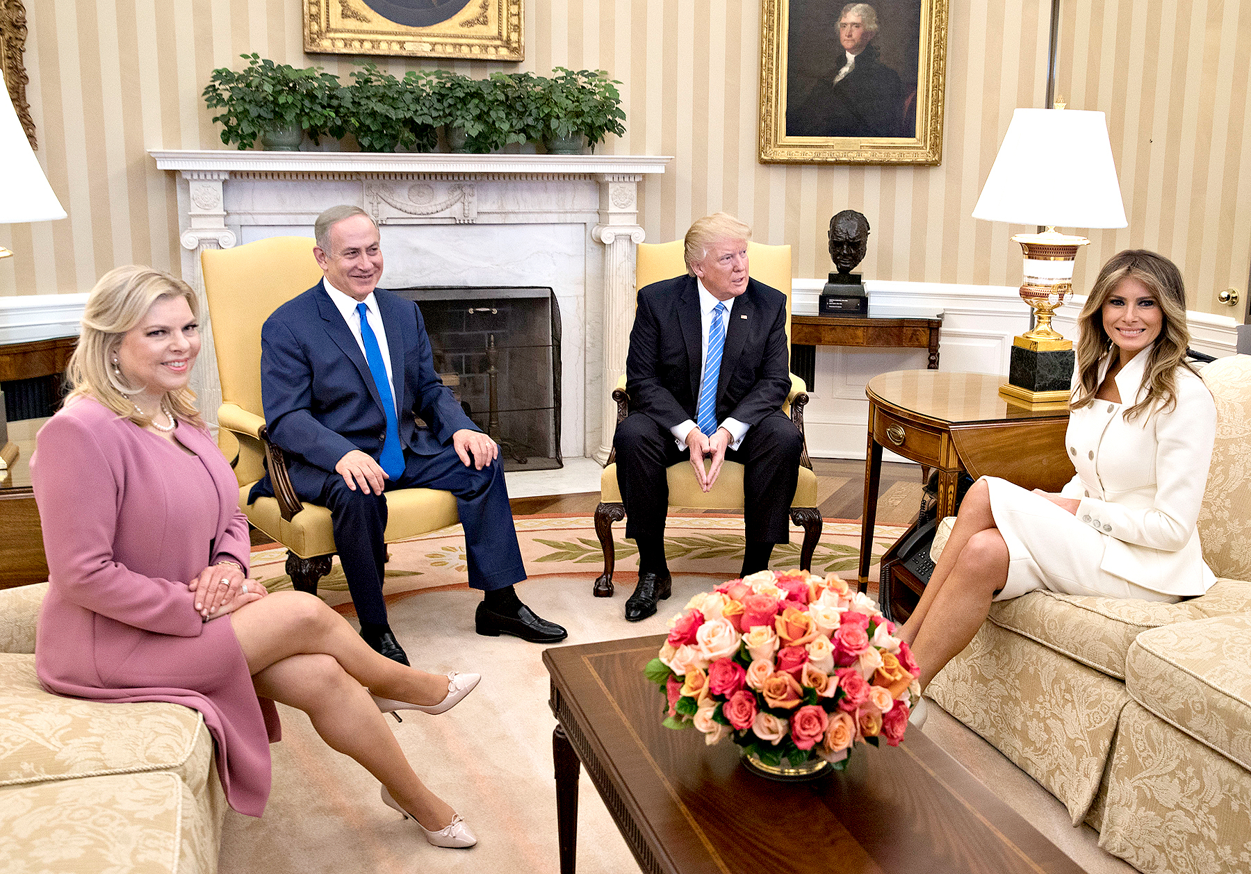 U.S. President Donald Trump, Israel Prime Minister Benjamin Netanyahu, his wife Sara Netanyahu (L) and U.S. first lady Melania Trump sit in the Oval Office of the White House on February 15, 2017 in Washington, D.C. Netanyahu is trying to recalibrate ties with the new U.S. administration after eight years of high-profile clashes with former President Barack Obama, in part over Israel's policies toward the Palestinians.