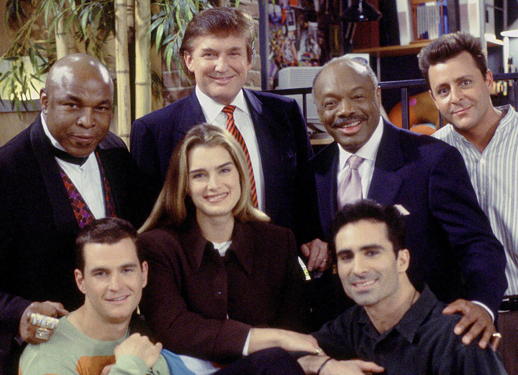 Mr. T as Himself, Donald Trump as Himself, Willie Brown as Mayor Willie Brown, Judd Nelson as Jack Richmond, (front row l-r) David Strickland as Todd Styles, Brooke Shields as Susan Keane, Nestor Carbonell as Luis Rivera on Suddenly Susan