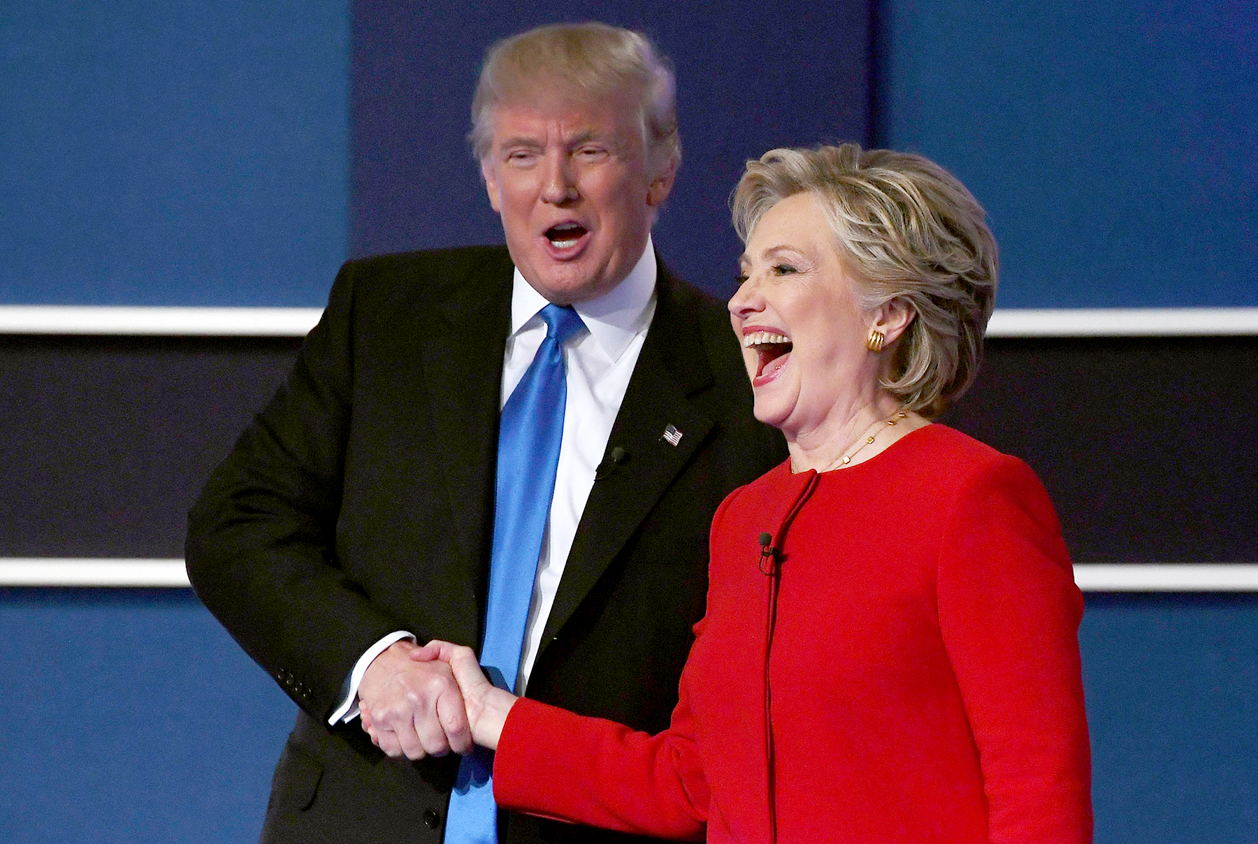 Hillary Clinton shakes hands with Donald Trump after the first presidential debate at Hofstra University in Hempstead, New York, on September 26, 2016.