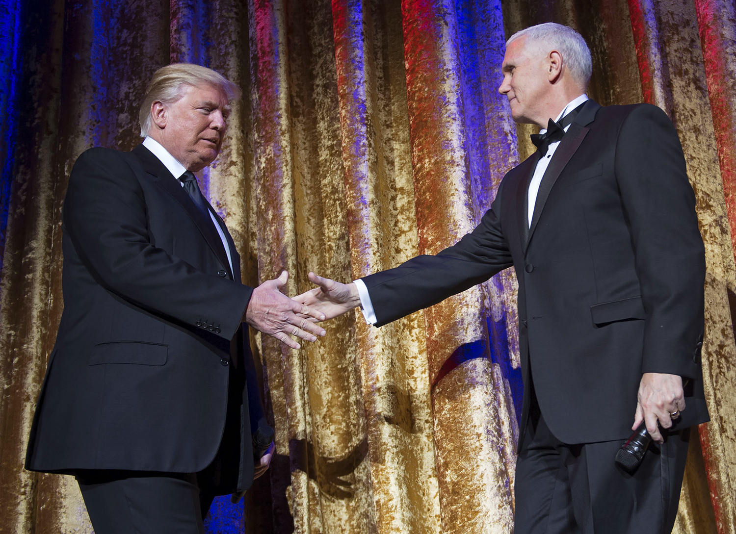President-Elect Donald Trumps and Vice President-Elect Gov. Mike Pence (R-IN) arrive together to deliver remarks at the Chairman's Global Dinner, at the Andrew W. Mellon Auditorium in Washington, D.C. on January 17, 2017.