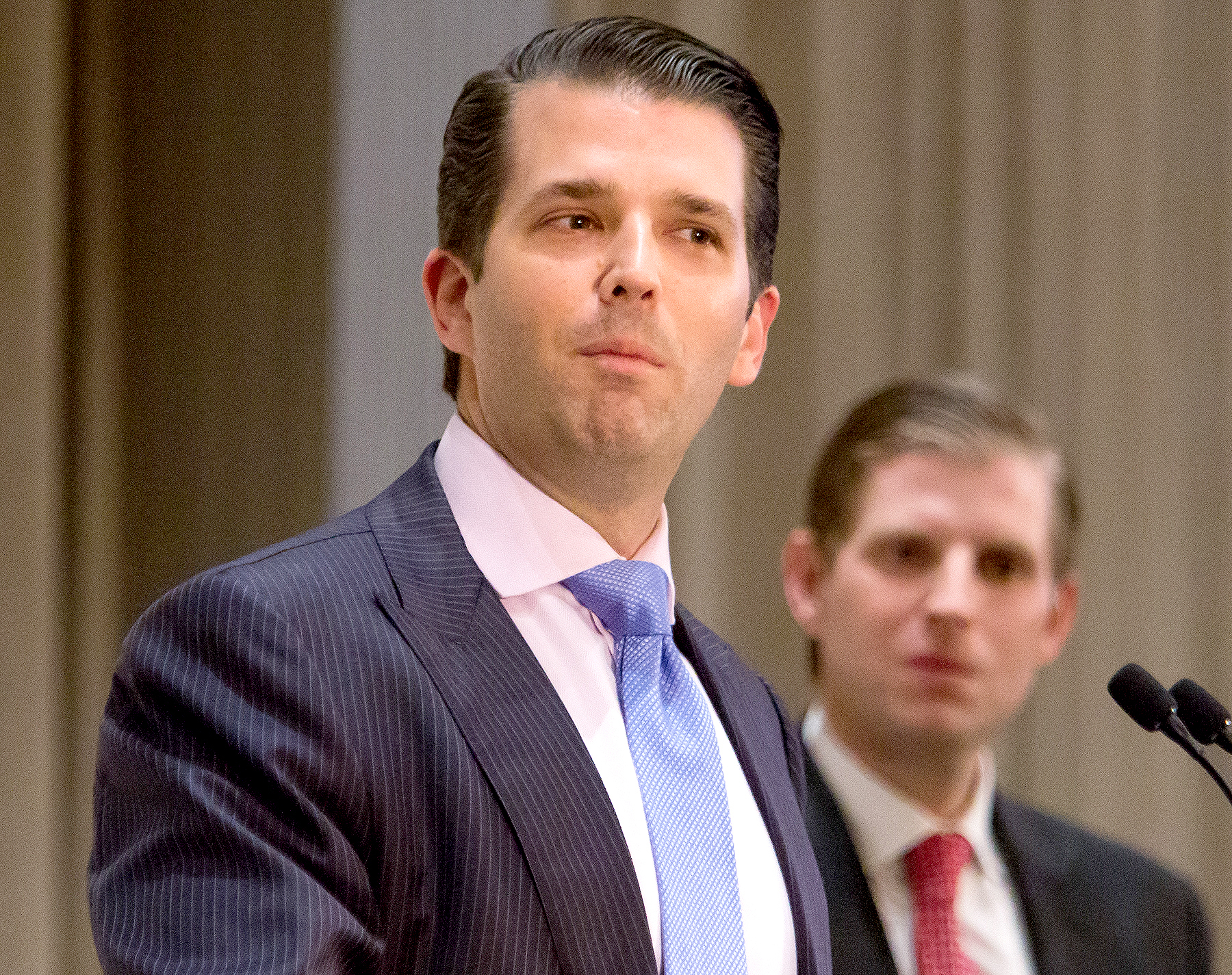 Donald Trump Jr. speaks during the grand opening ceremony of Trump International Hotel & Tower in Vancouver, British Columbia, Canada, on February 28, 2017.