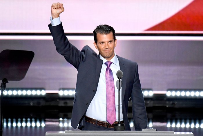 Donald Trump Jr., speaks at the 2016 Republican National Convention in Cleveland, Ohio on Monday, July 19, 2016.