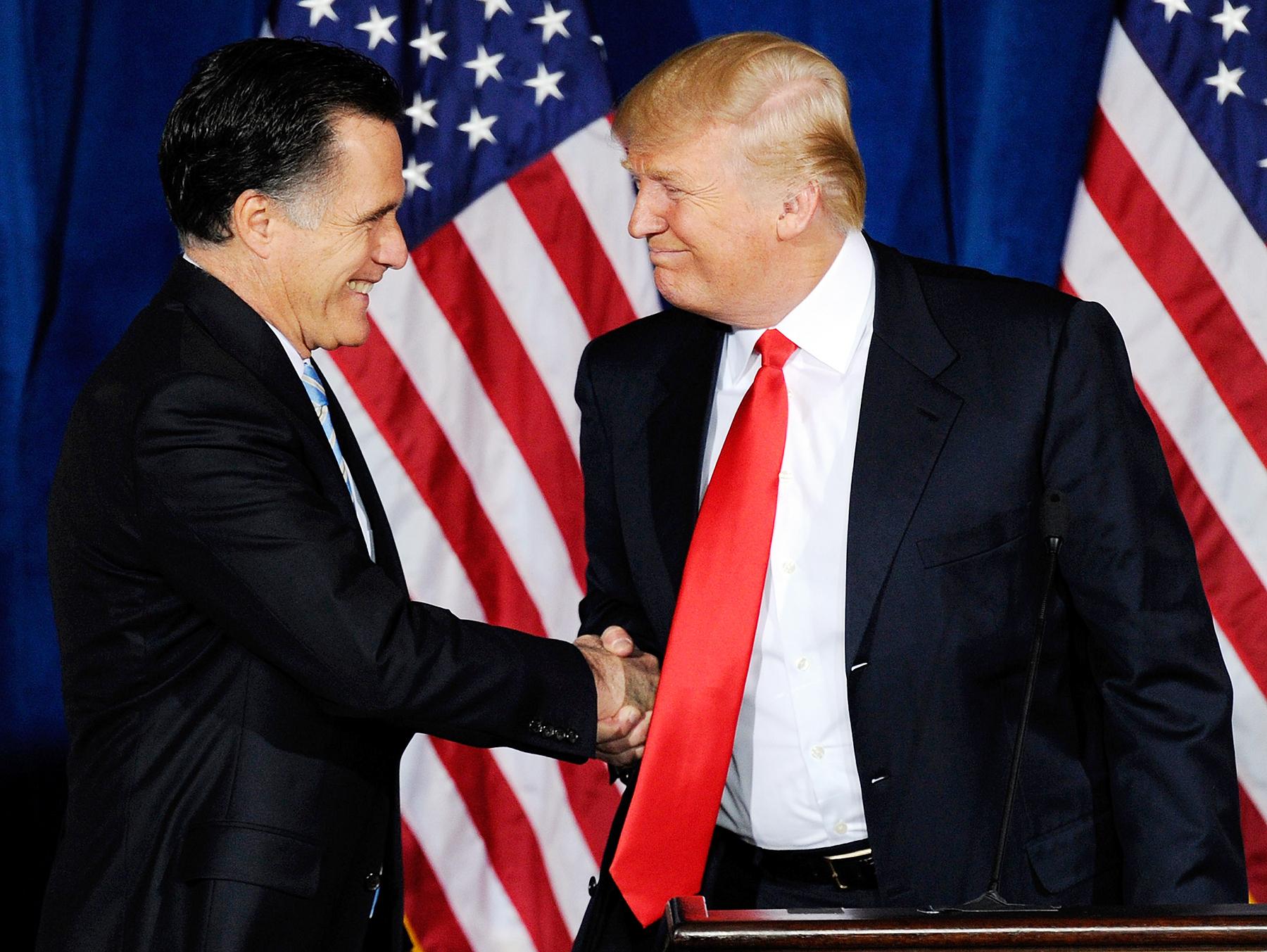 Mitt Romney and Donald Trump in 2012