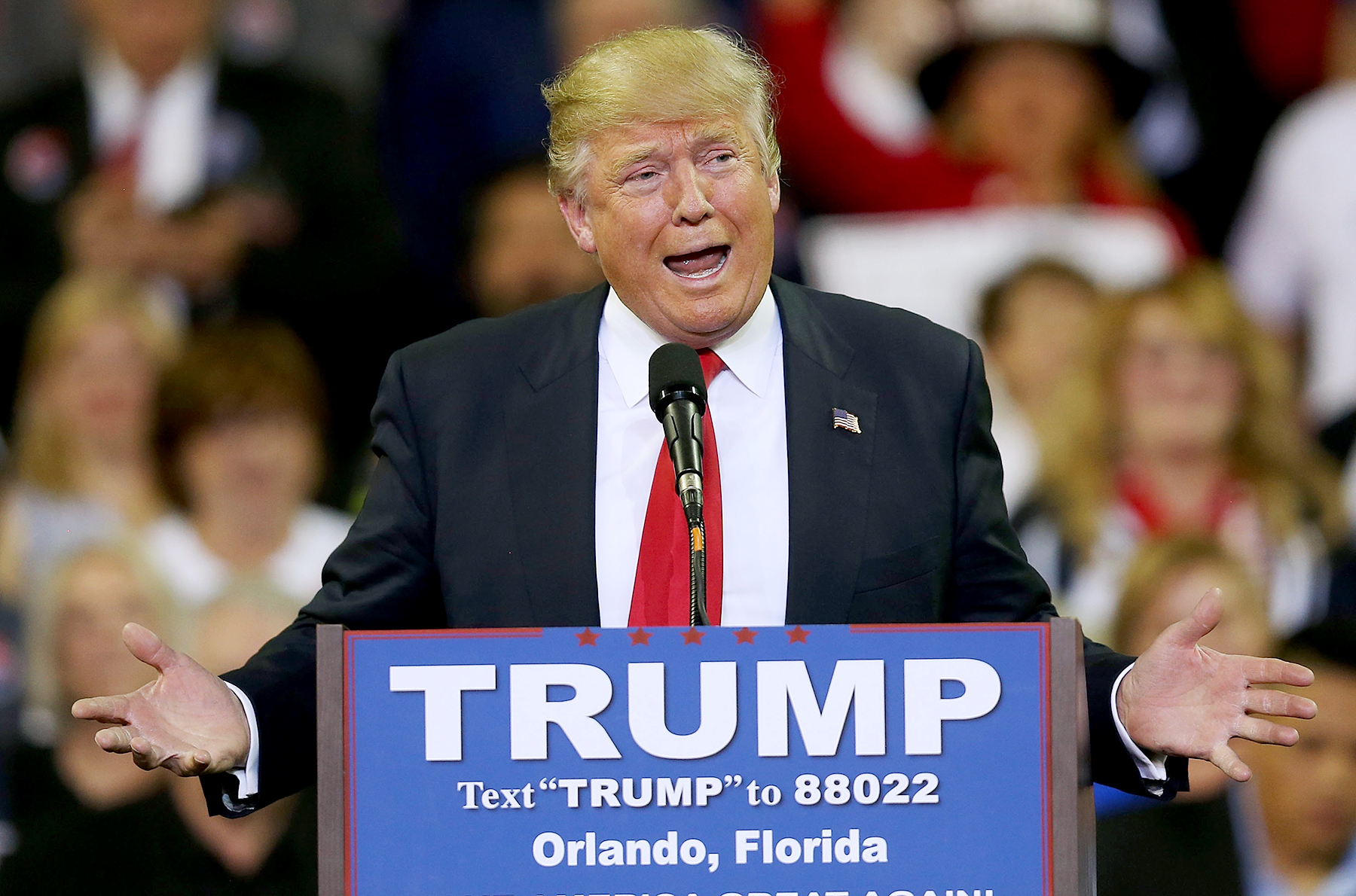 Republican presidential candidate Donald Trump speaks at the CFE Arena during a campaign stop on the campus of the University of Central Florida on March 5, 2016 in Orlando, Florida.
