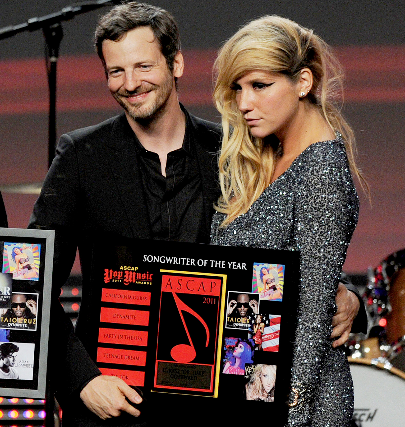Dr. Luke Gottwald and Ke$ha pose onstage at the 28th Annual ASCAP Pop Music Awards at the Kodak Ballroom on April 27, 2011 in Los Angeles, California.