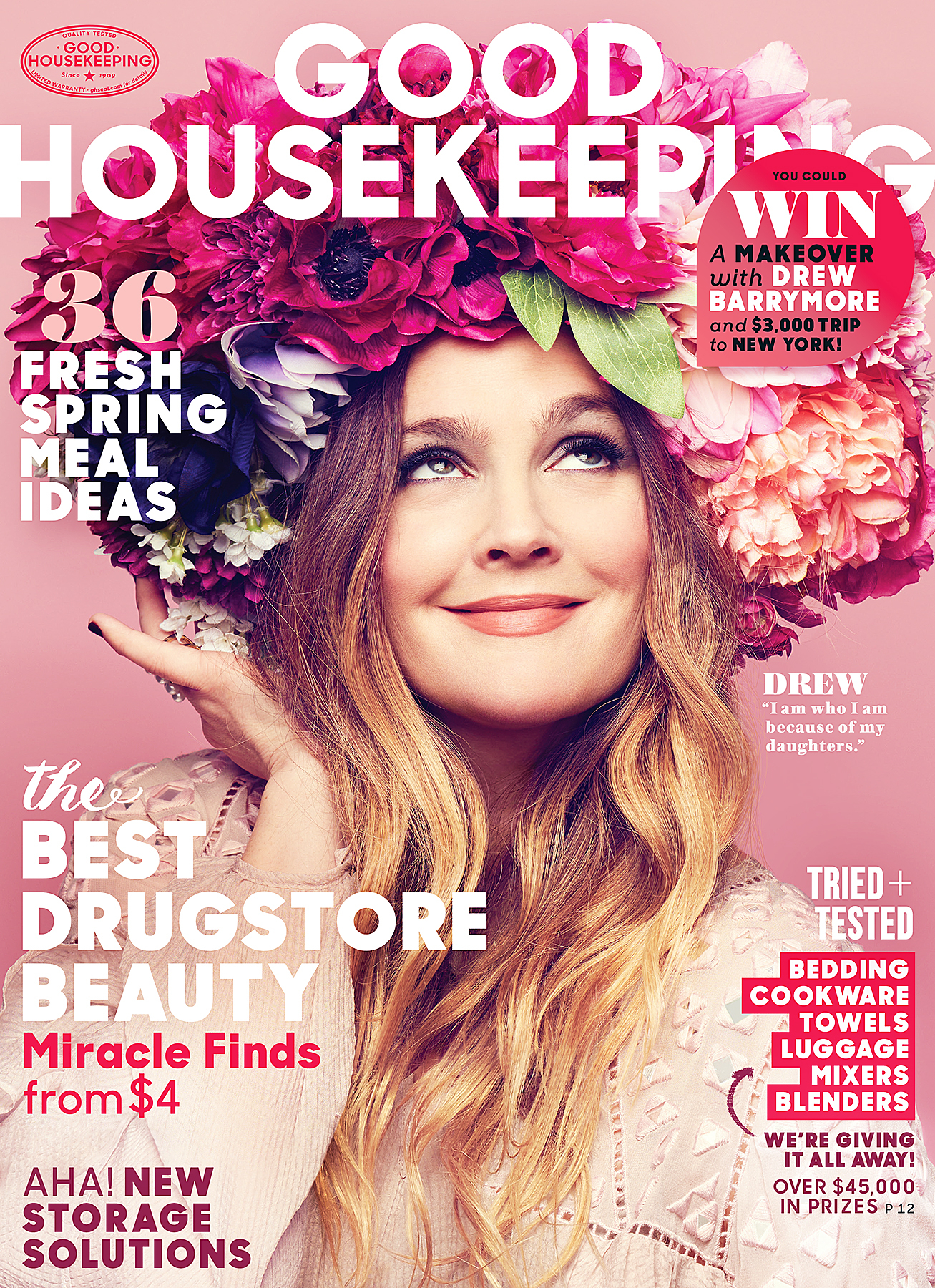 Drew Barrymore on the cover of Good Housekeeping