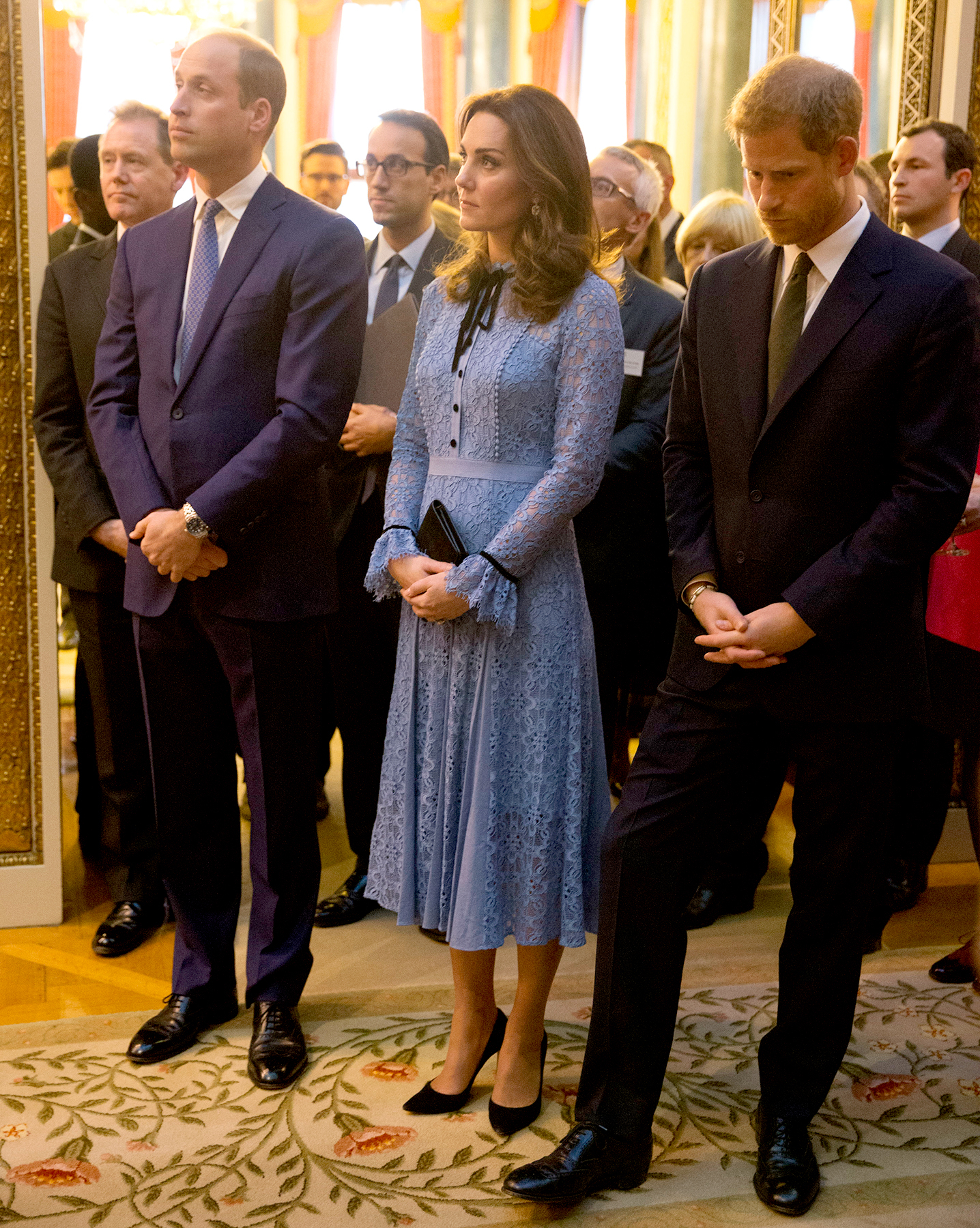 Prince William, Duke of Cambridge and Catherine, Duchess of Cambridge and Prince Harry attend a reception on World Mental Health Day to celebrate the contribution of those working in the mental health sector across the UK at Buckingham Palace on October 10, 2017 in London, England.