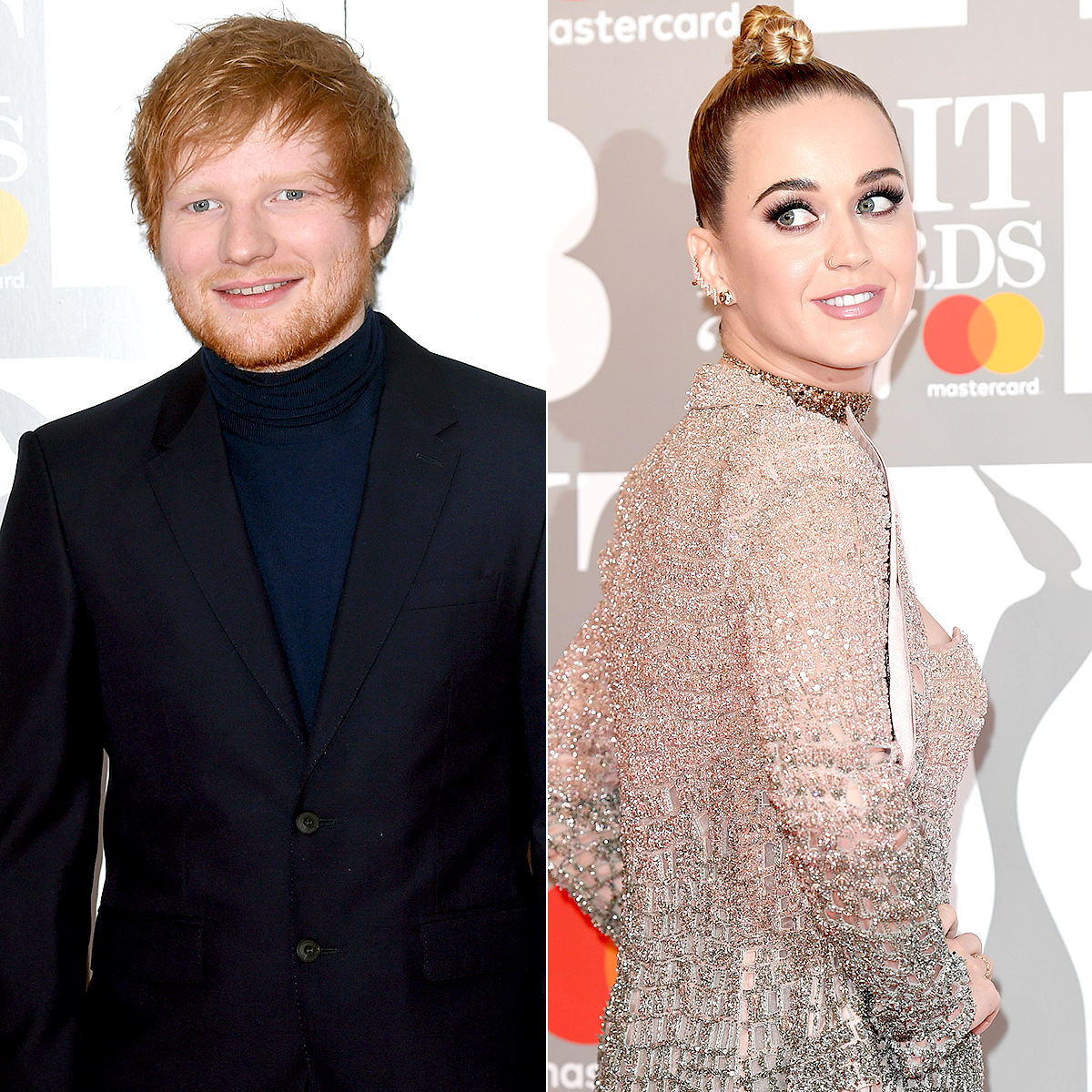 Ed Sheeran and Katy Perry at the Brits Awards 2017.