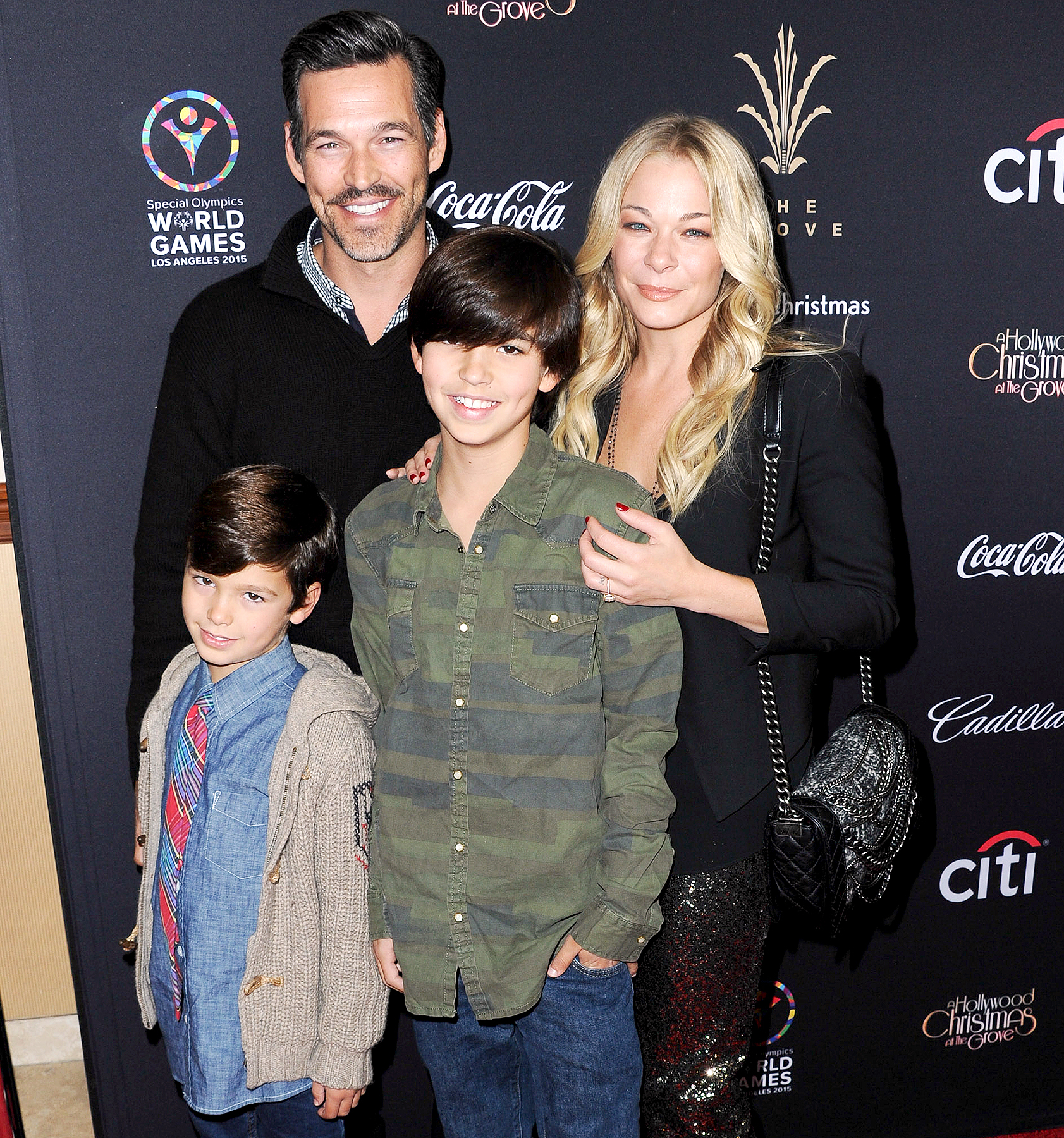 Eddie Cibrian, LeAnn Rimes, Mason Edward Cibrian and Jake Austin Cibrian attend The Grove's 12th Annual Christmas Tree Lighting Spectacular at The Grove on November 16, 2014 in Los Angeles, California.