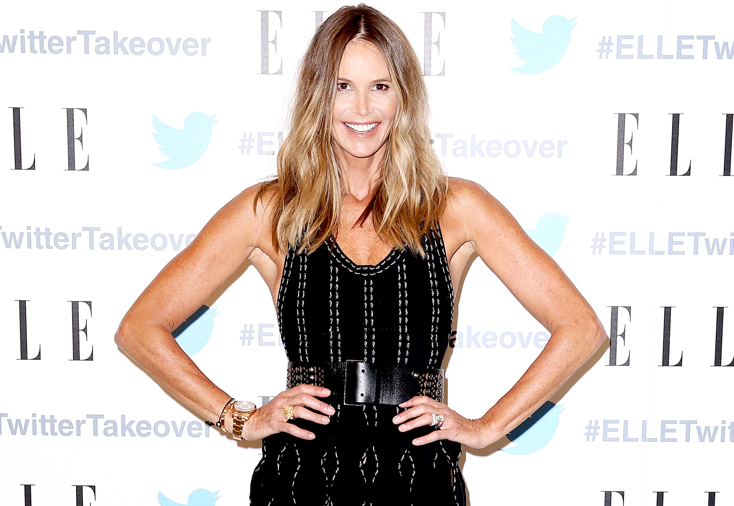 Elle Macpherson arrives at TwitterAU HQ on September 12, 2016 in Sydney, Australia.