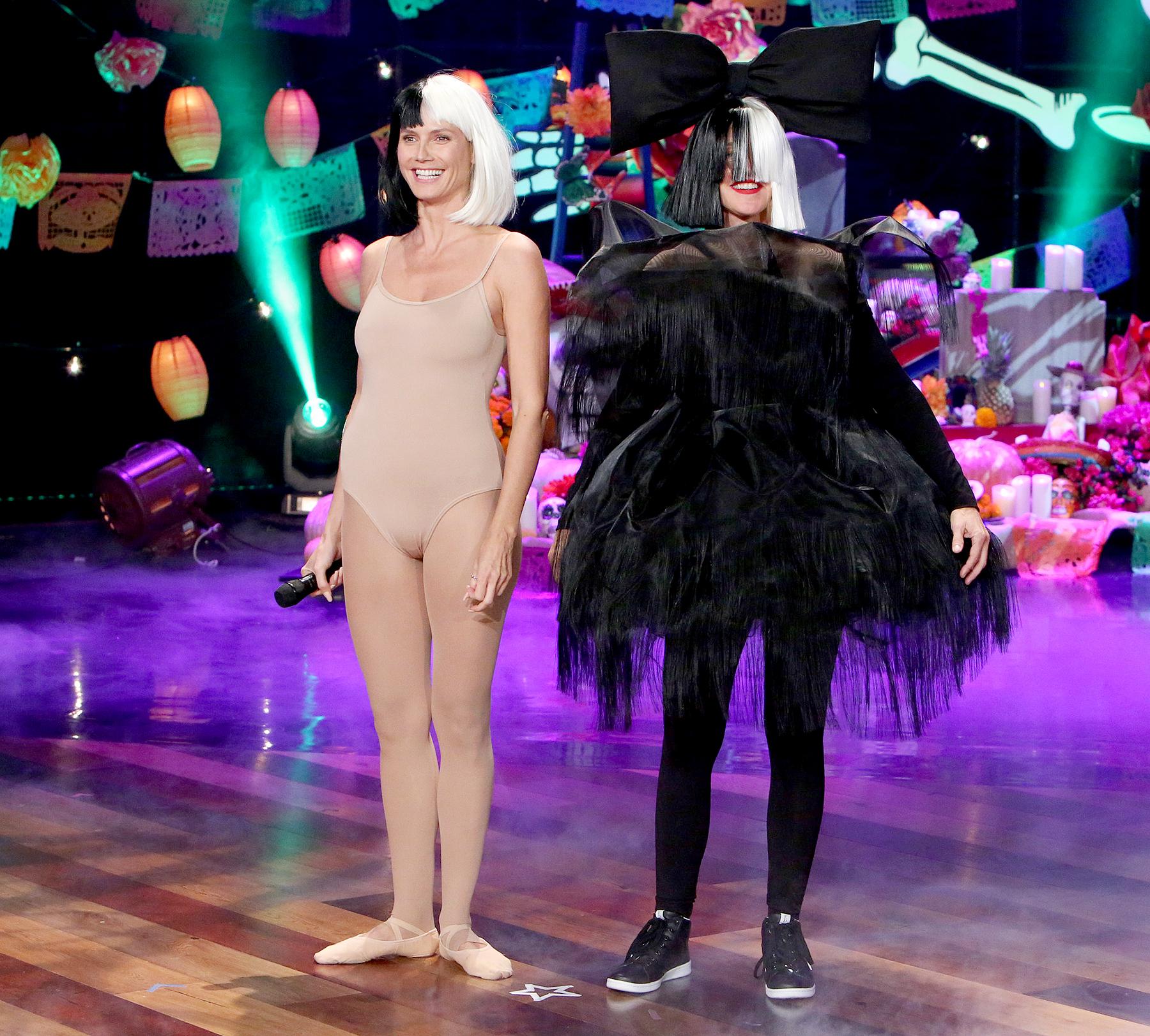 Heidi Klum and Ellen DeGeneres dressed up as Maddie Ziegler and Sia.
